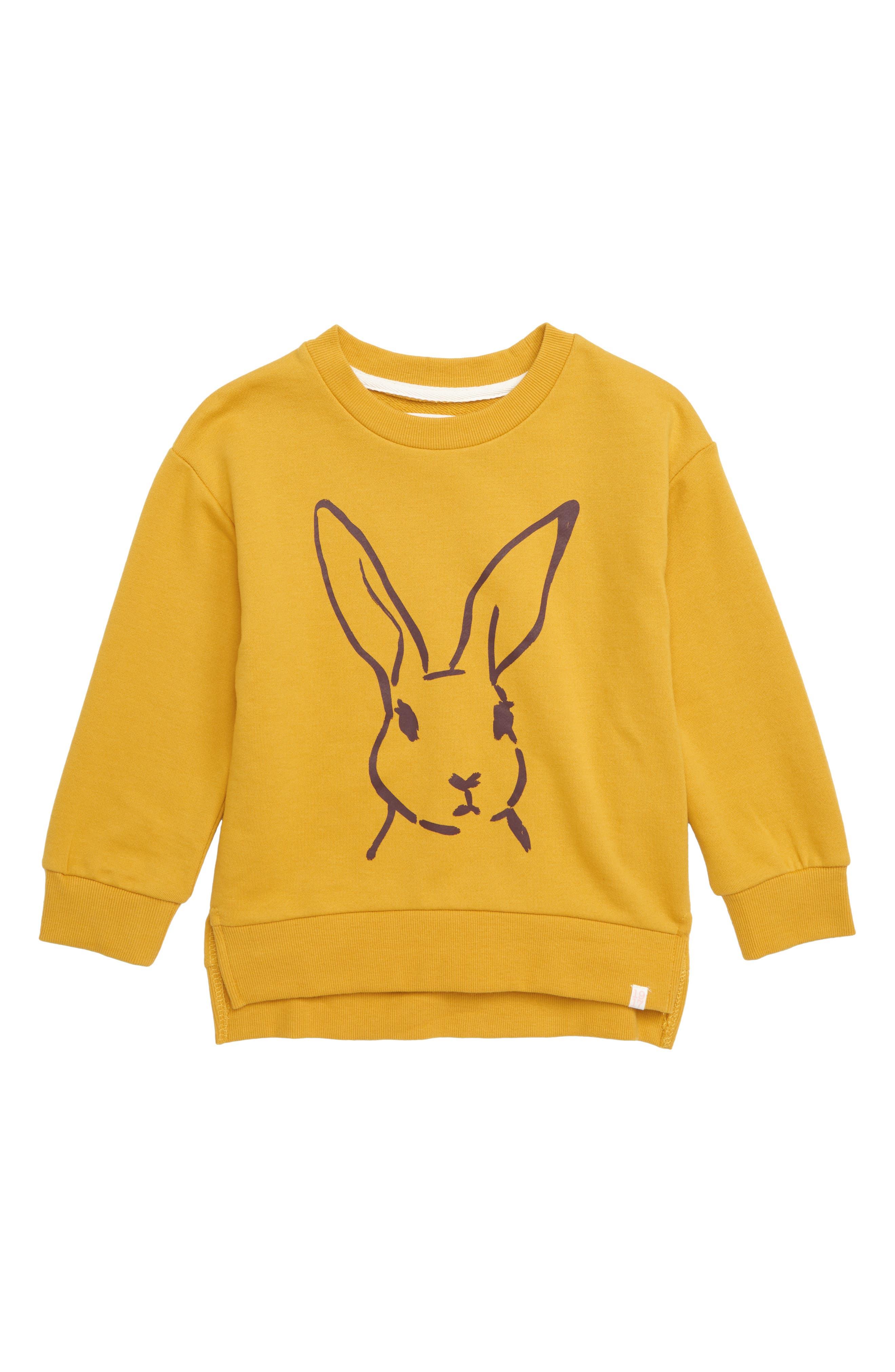 SOVEREIGN CODE,                             Kennedy Bunny Graphic Sweatshirt,                             Main thumbnail 1, color,                             BUNNY/ MARIGOLD