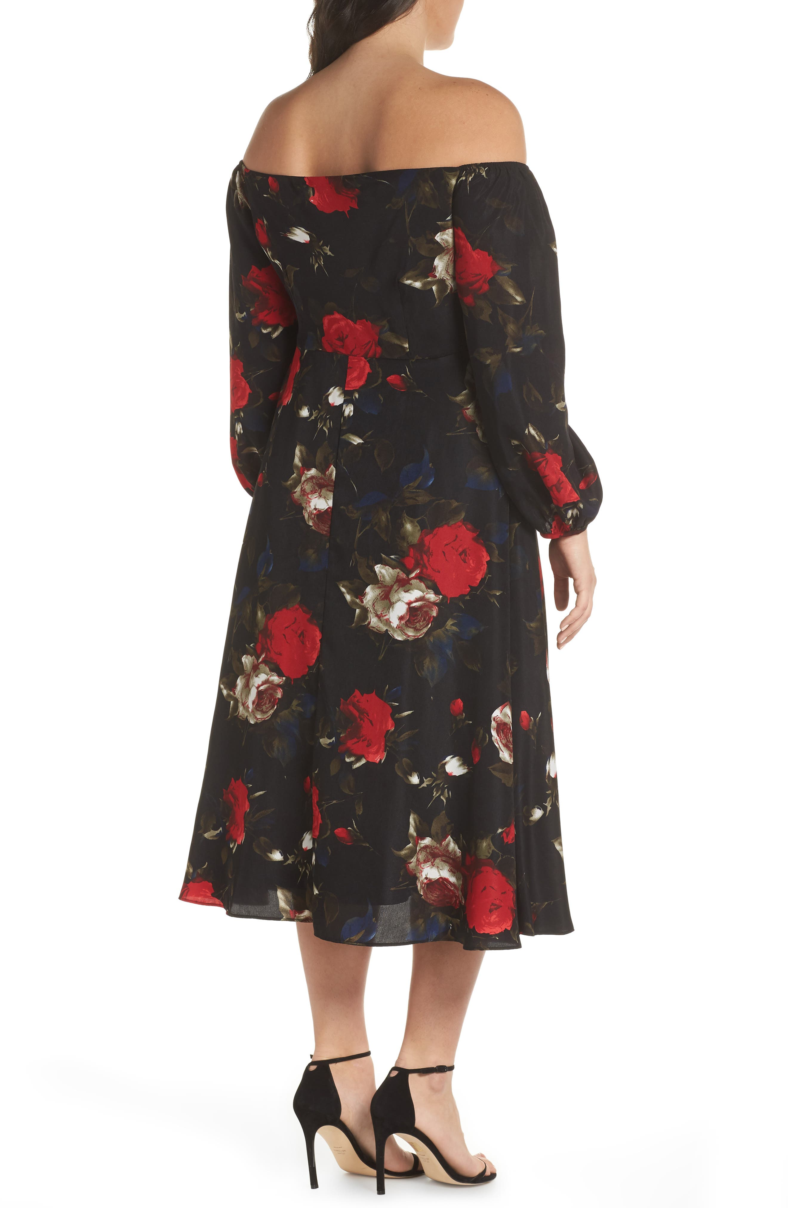 Off the Shoulder Midi Dress,                             Alternate thumbnail 9, color,                             BLACK LUSH ROSE FLORAL