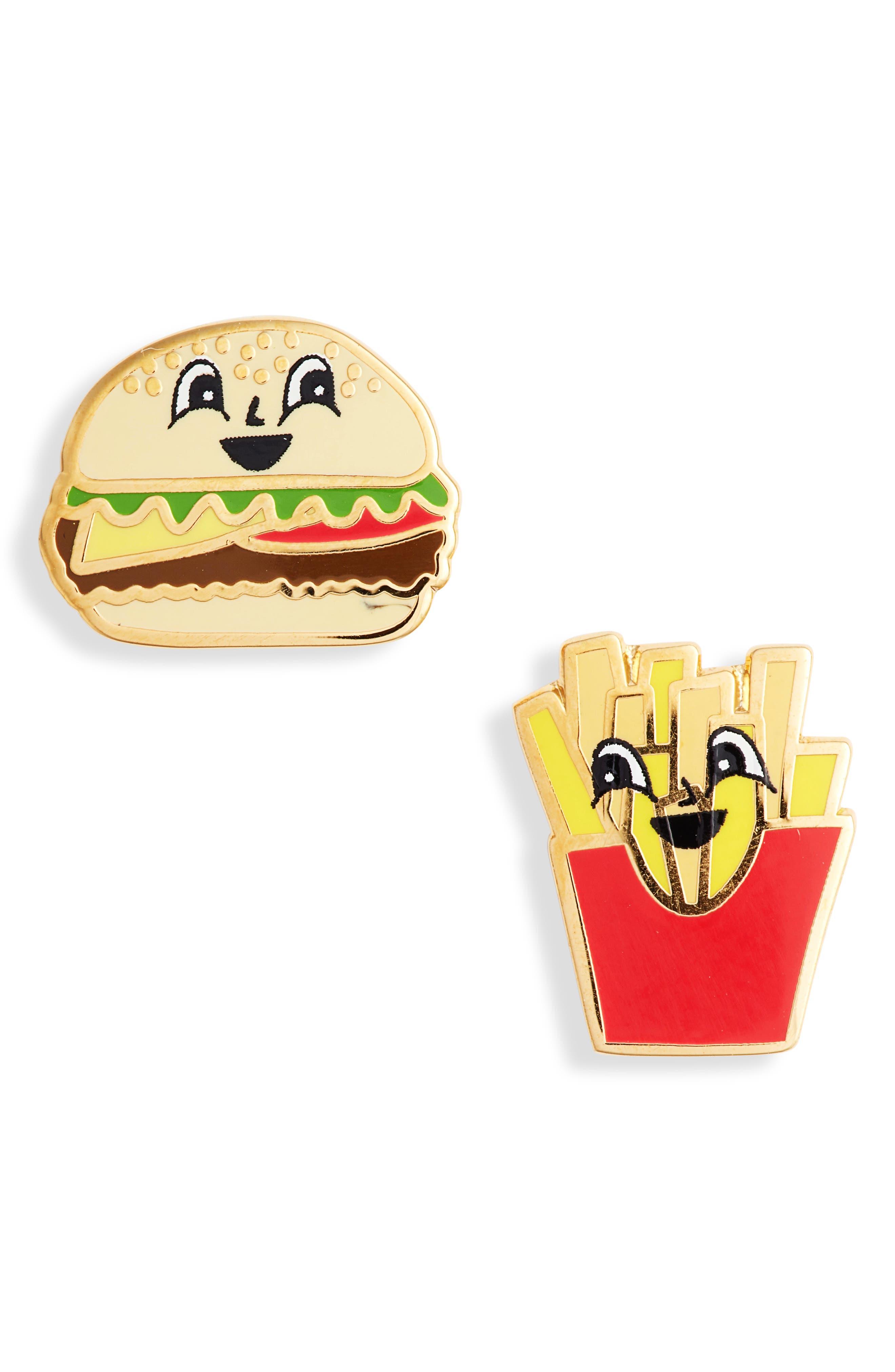 Mismatched Burger & Fries Stud Earrings,                             Main thumbnail 1, color,                             700