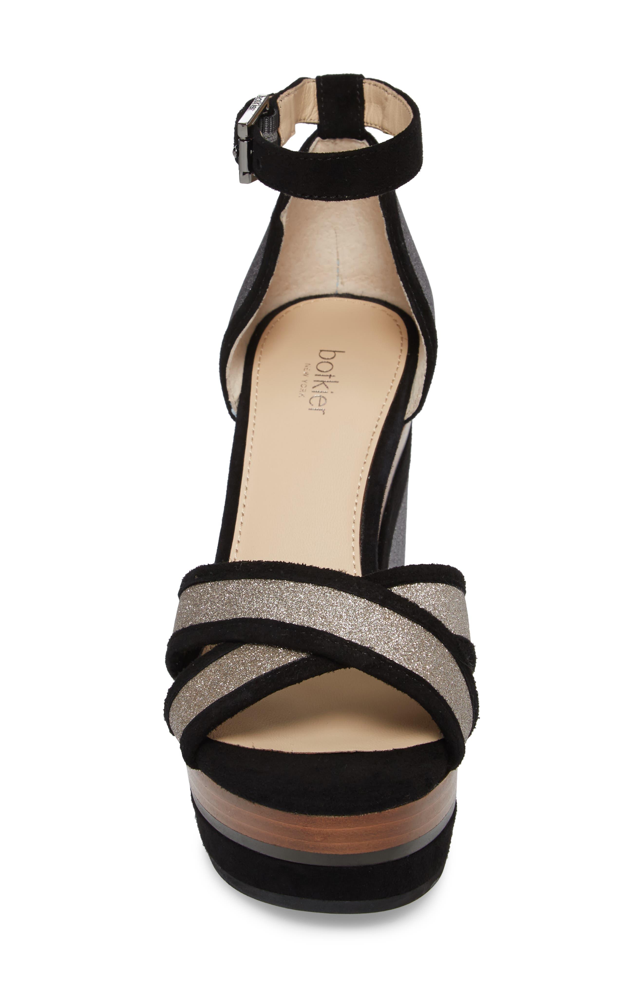 Paloma Ankle Strap Sandal,                             Alternate thumbnail 4, color,                             GUNMETAL GLITTER
