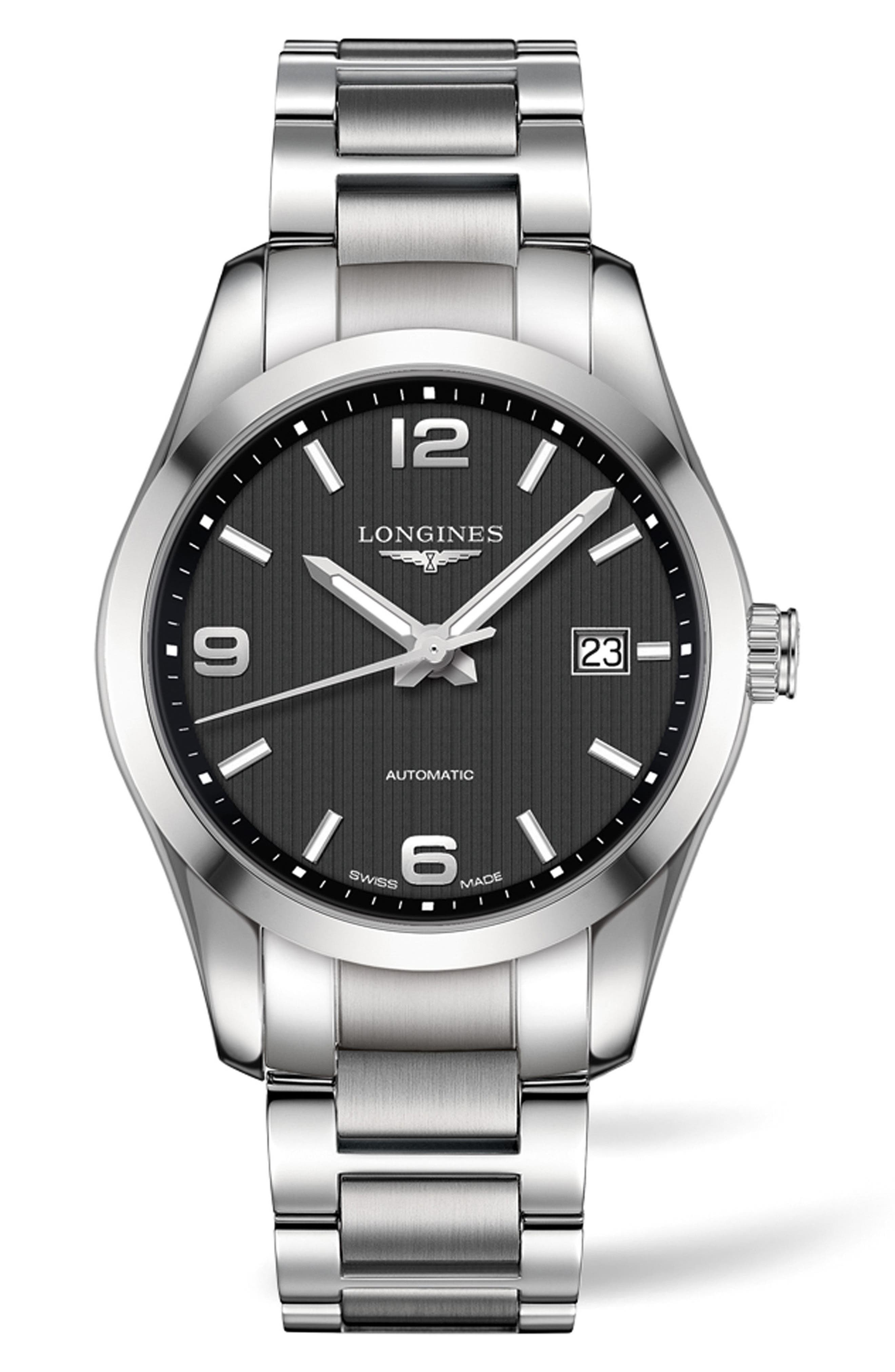 Conquest Classic Automatic Bracelet Watch, 40mm,                         Main,                         color, SILVER/ BLACK/ SILVER