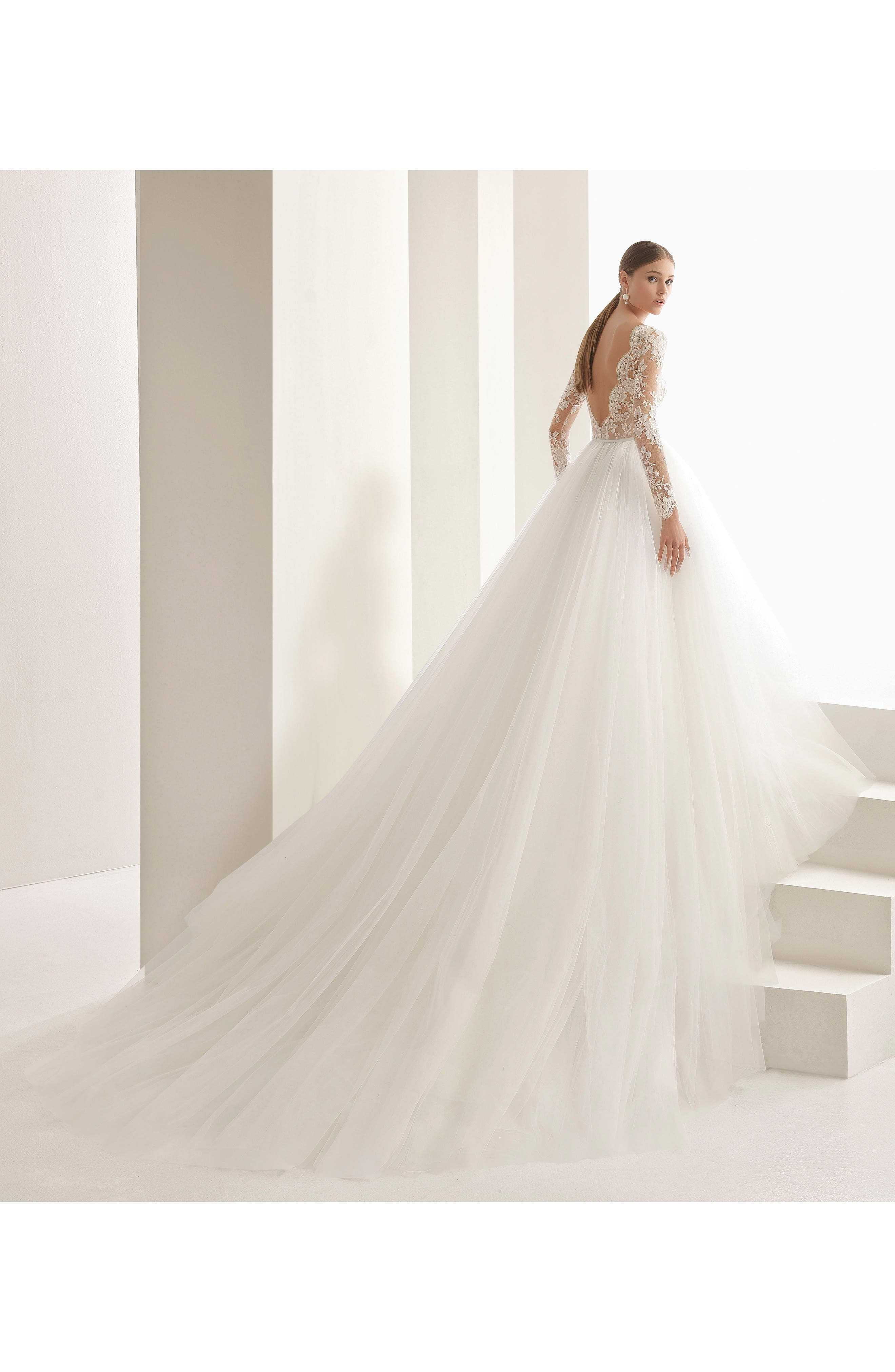 Rosa Clará Couture Niher Lace & Tulle Ballgown,                             Alternate thumbnail 2, color,                             NATURAL