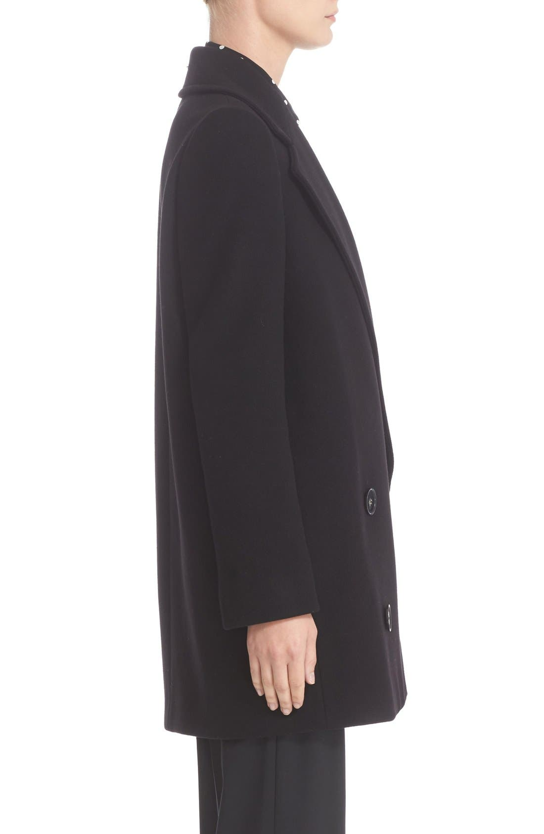 'Edith' Double Breasted Wool Blend Coat,                             Alternate thumbnail 7, color,                             001