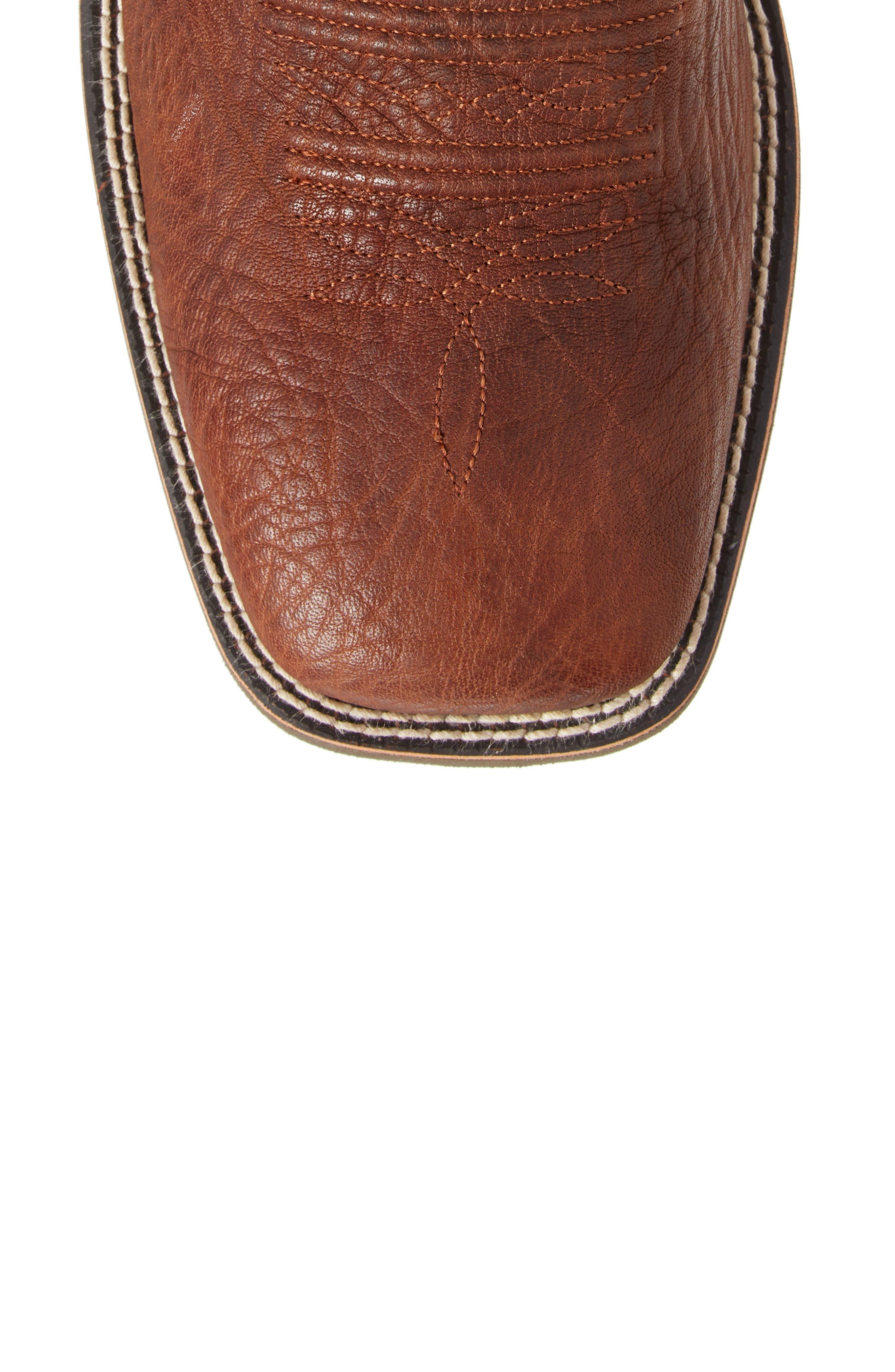 Heritage Latigo Square Toe Cowboy Boot,                             Alternate thumbnail 5, color,                             COGNAC/ BROWN BOMBER LEATHER