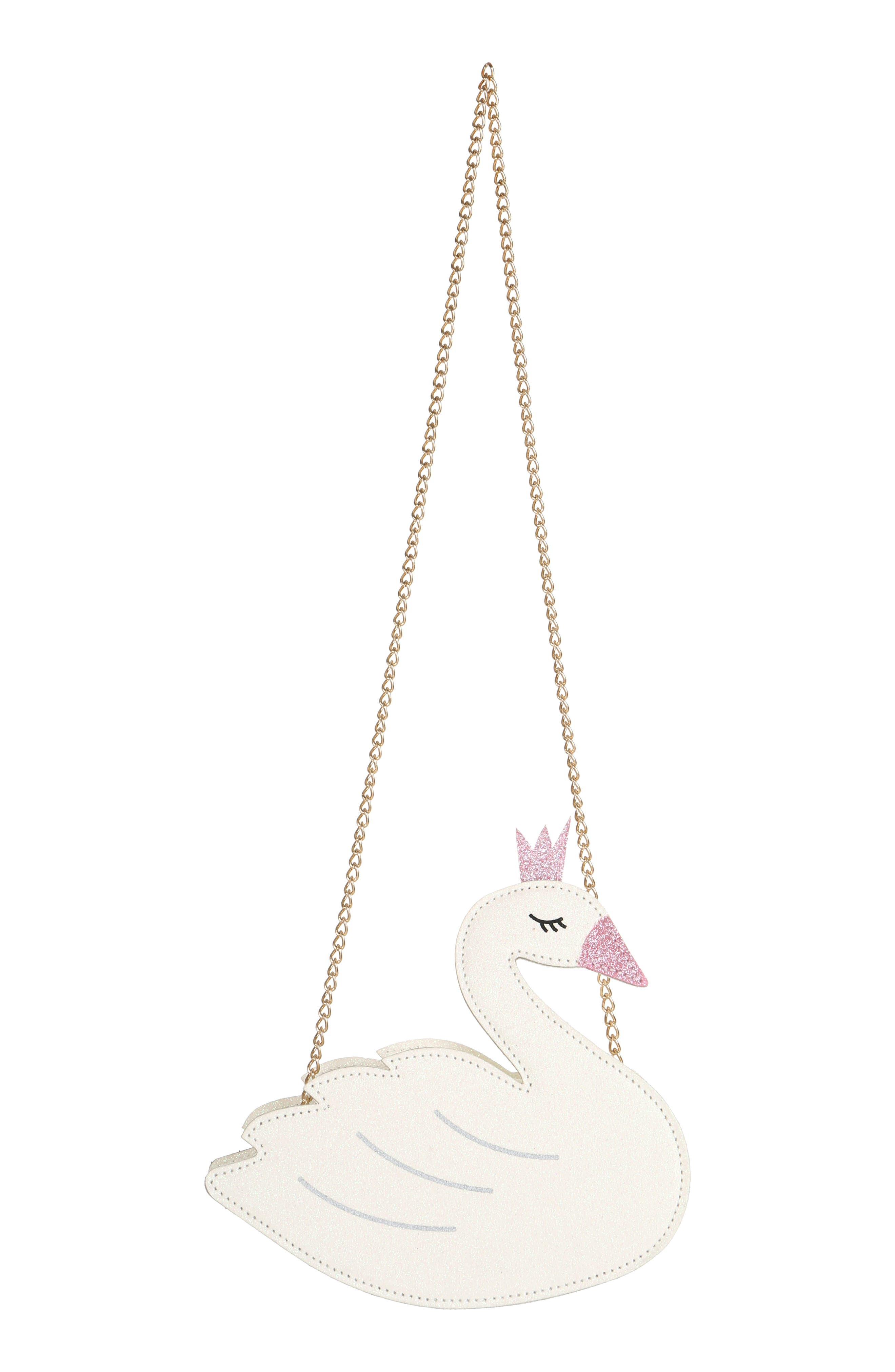Crowned Swan Shoulder Bag,                             Alternate thumbnail 4, color,                             WHITE COMBO