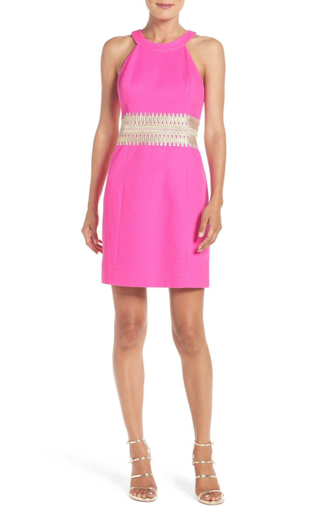 LILLY PULITZER<SUP>®</SUP>,                             'Ashlyn' Lace Waist Shift Dress,                             Main thumbnail 1, color,                             652