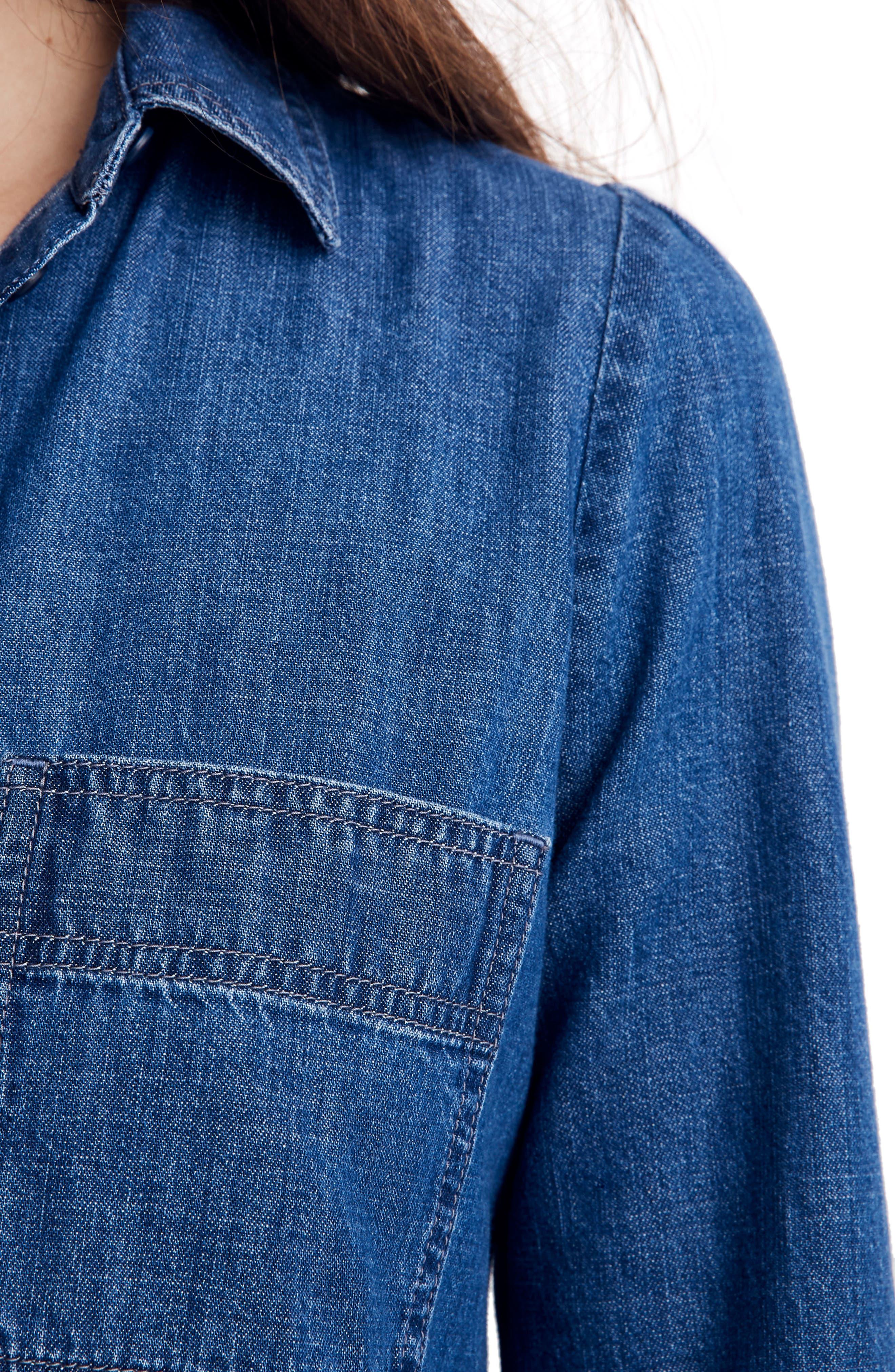 Puff Sleeve Denim Shirtdress,                             Alternate thumbnail 4, color,                             HARRIS WASH