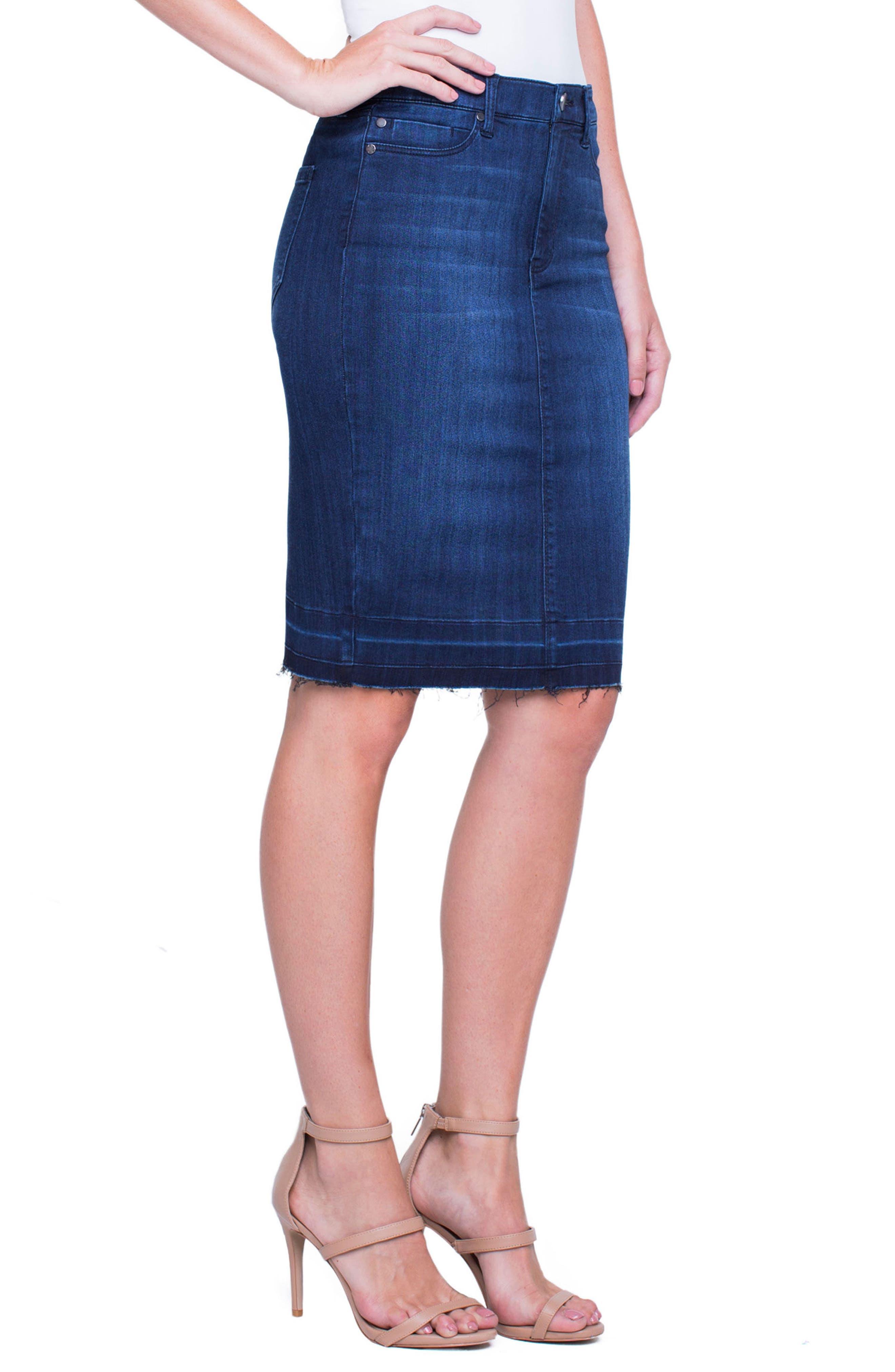 Denim Pencil Skirt,                             Alternate thumbnail 3, color,                             404