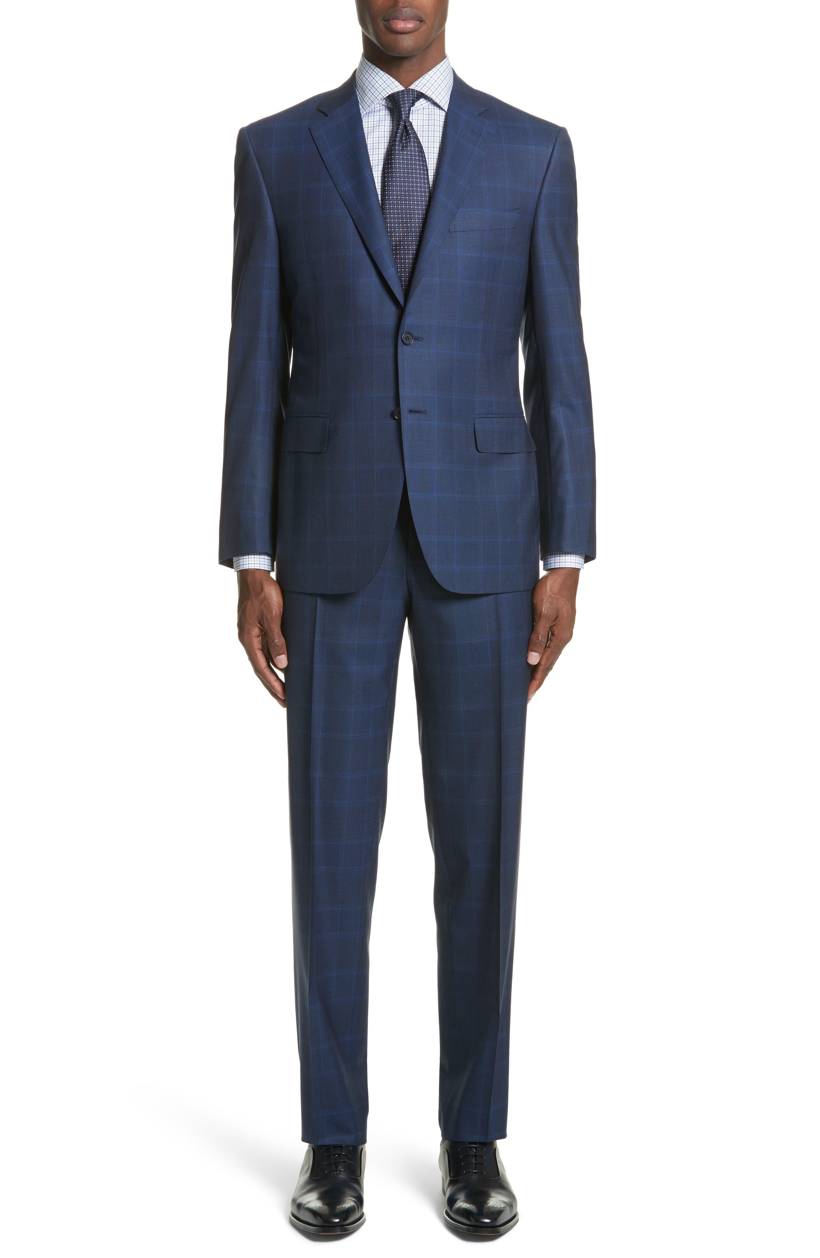 Classic Fit Plaid Wool Suit,                         Main,                         color, 410