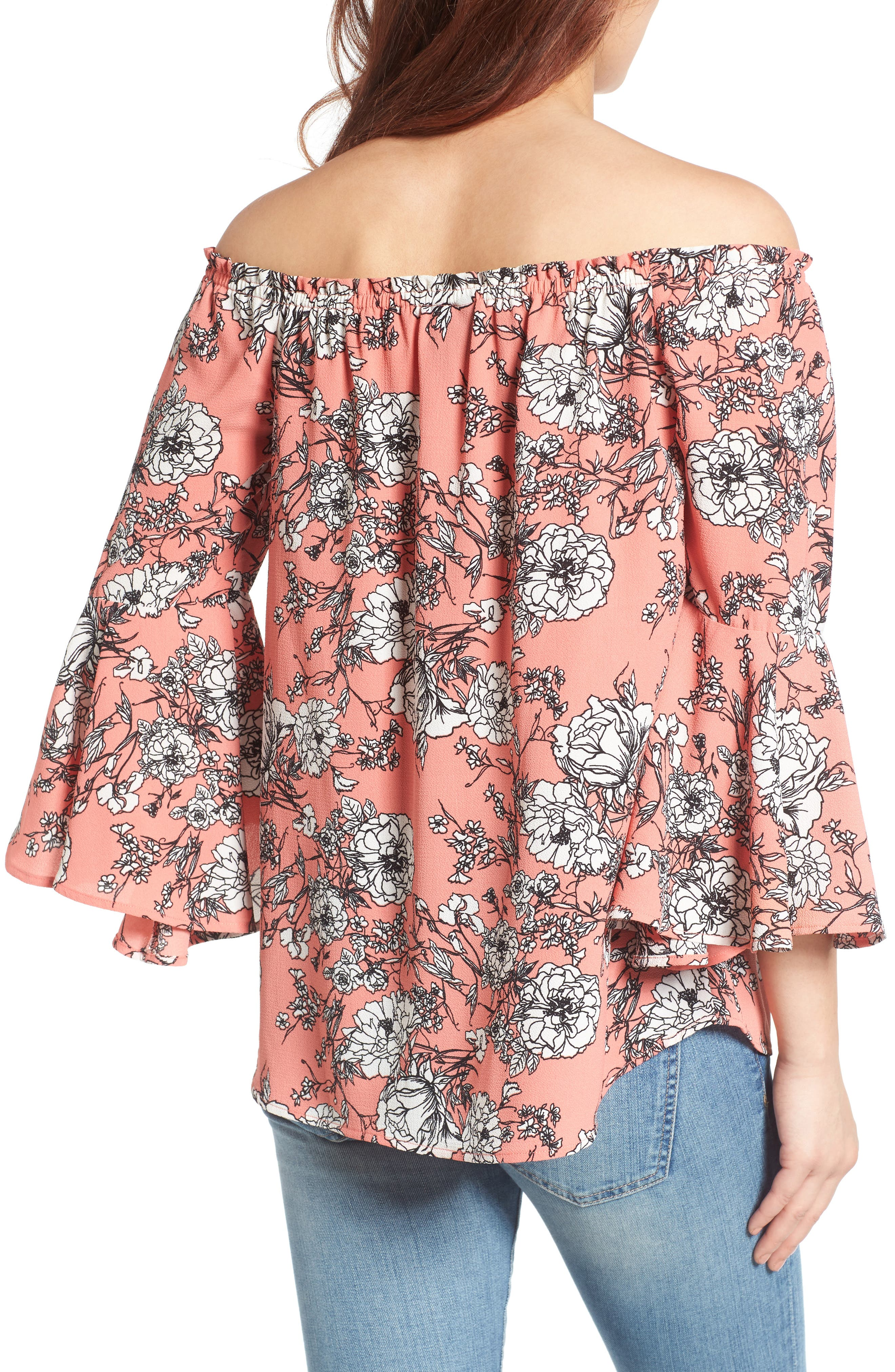Bell Sleeve Off the Shoulder Blouse,                             Alternate thumbnail 6, color,