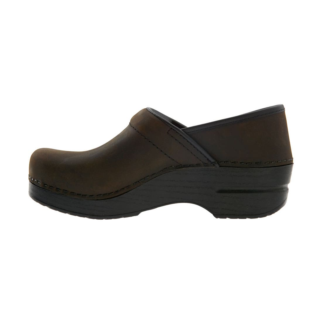DANSKO,                             'Professional - Narrow' Oiled Leather Clog,                             Alternate thumbnail 3, color,                             ANTIQUE BROWN OILED