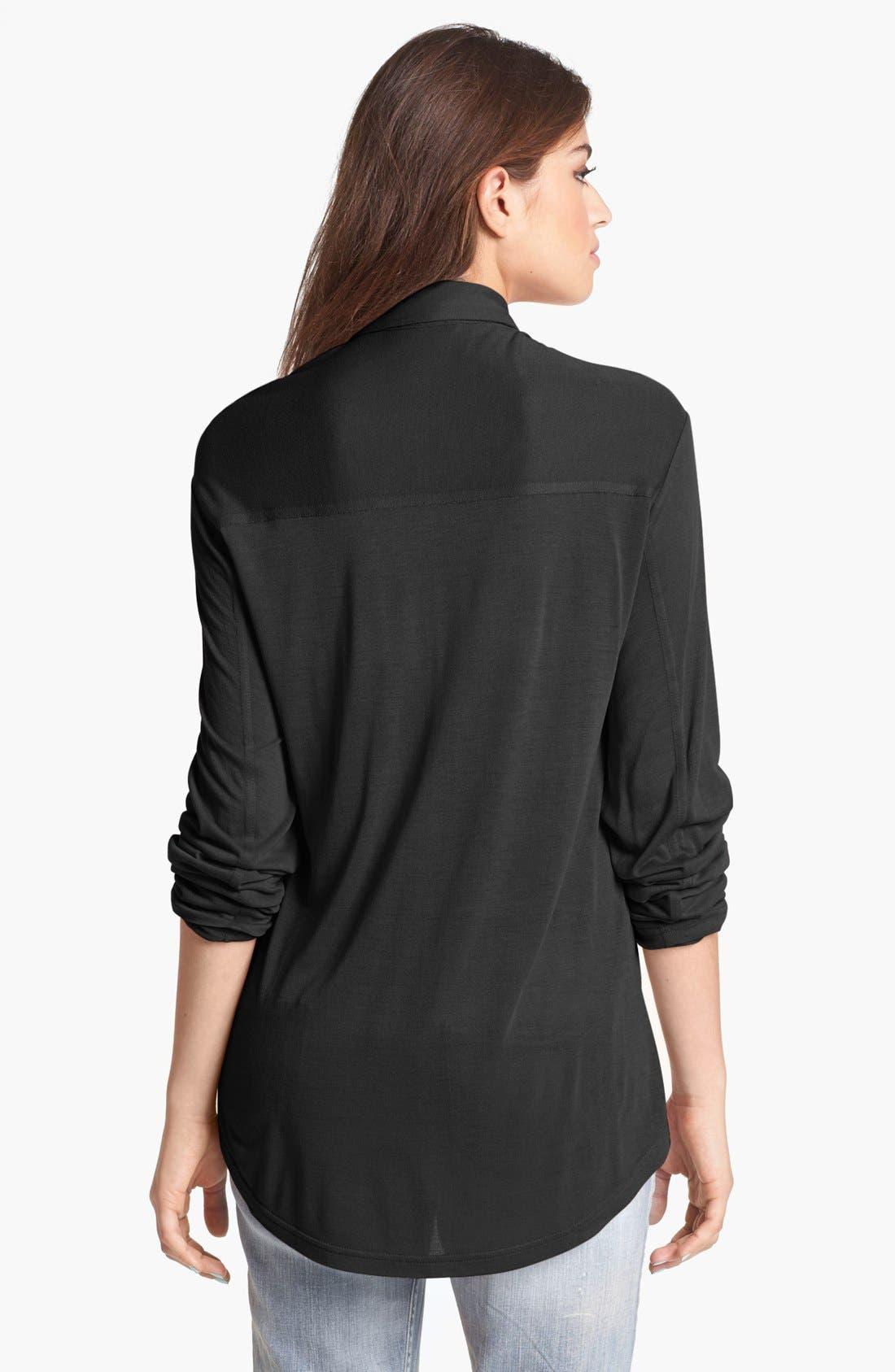 Knit Button Front Shirt,                             Alternate thumbnail 2, color,                             001