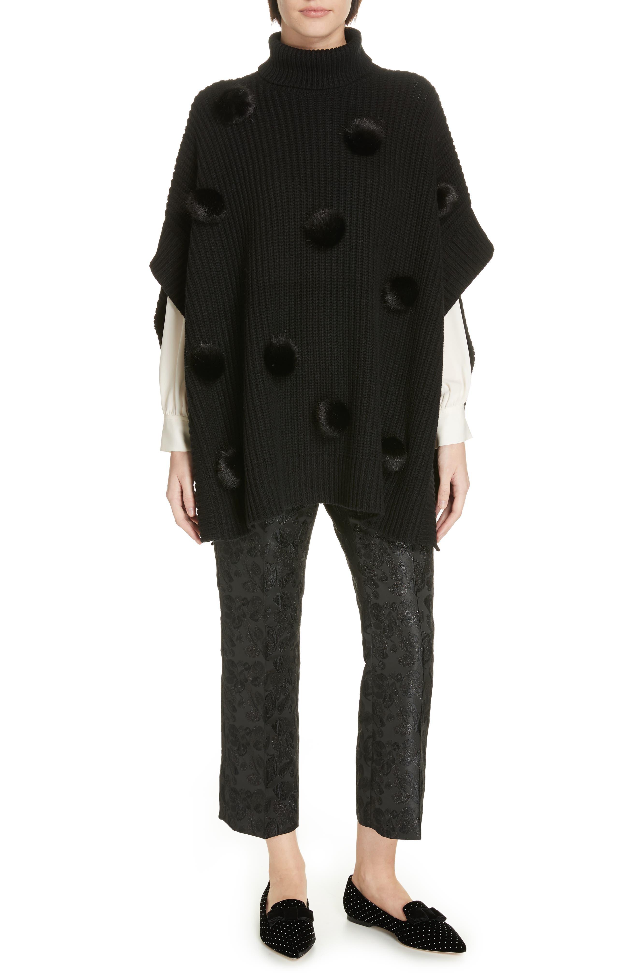 metallic tonal jacquard flare pants,                             Alternate thumbnail 7, color,                             BLACK