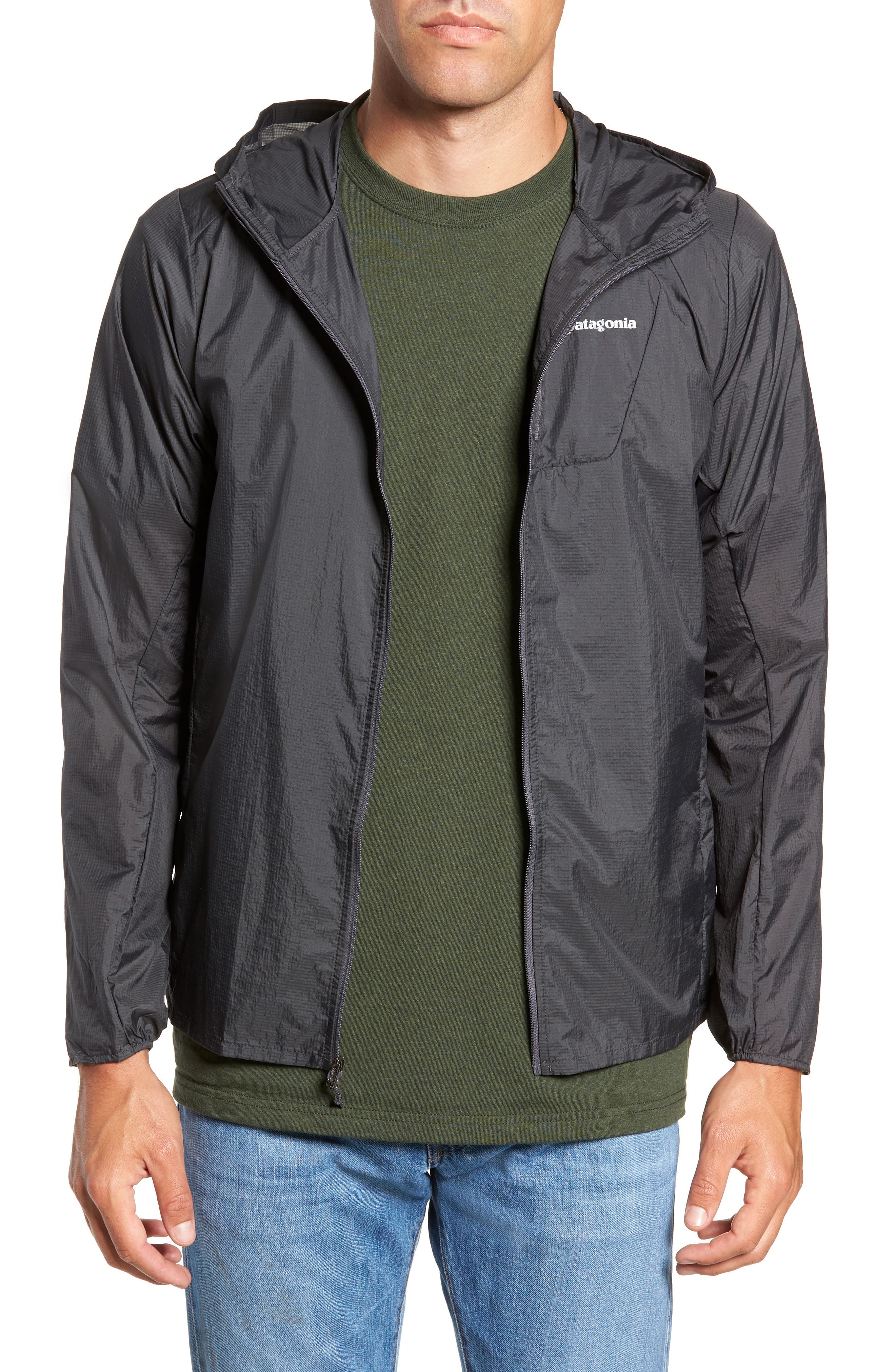 'Houdini' Slim Fit Water Repellent Hooded Jacket,                             Main thumbnail 1, color,                             FORGE GREY/ FORGE GREY