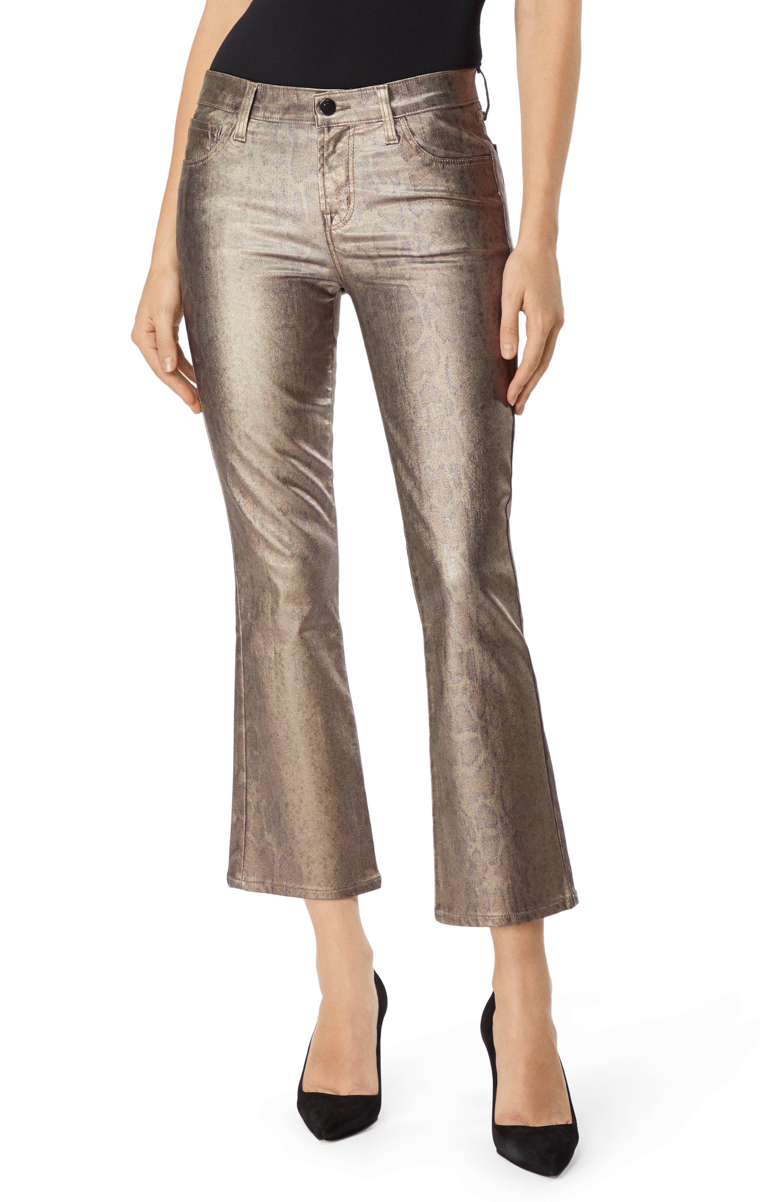 Selena Mid-Rise Boot-Cut Metallic Animal-Print Jeans in Zhora