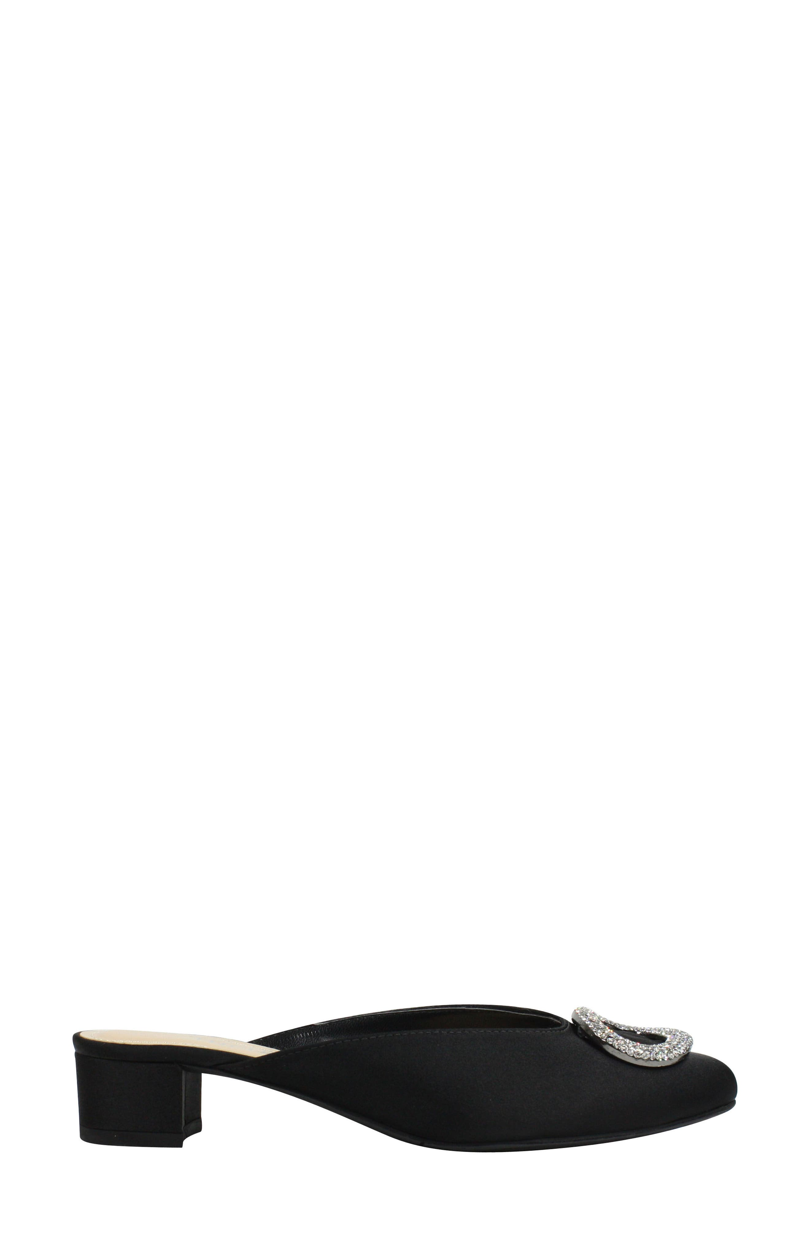 J.Reneé Melosa Crystal Brooch Embellished Mule,                             Alternate thumbnail 3, color,                             BLACK FABRIC
