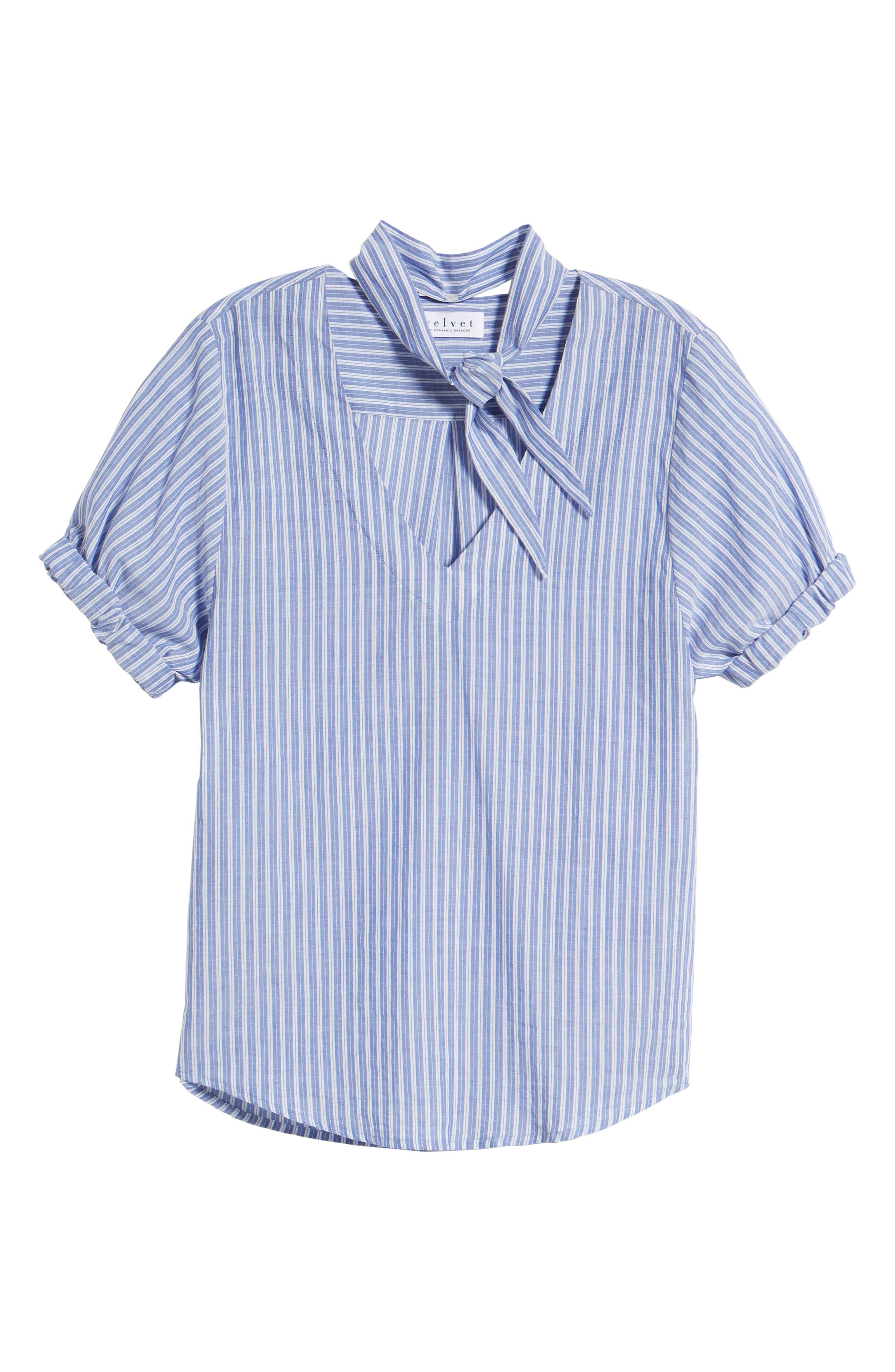 Removable Neckerchief Pinstripe Cotton Blouse,                             Alternate thumbnail 7, color,                             464