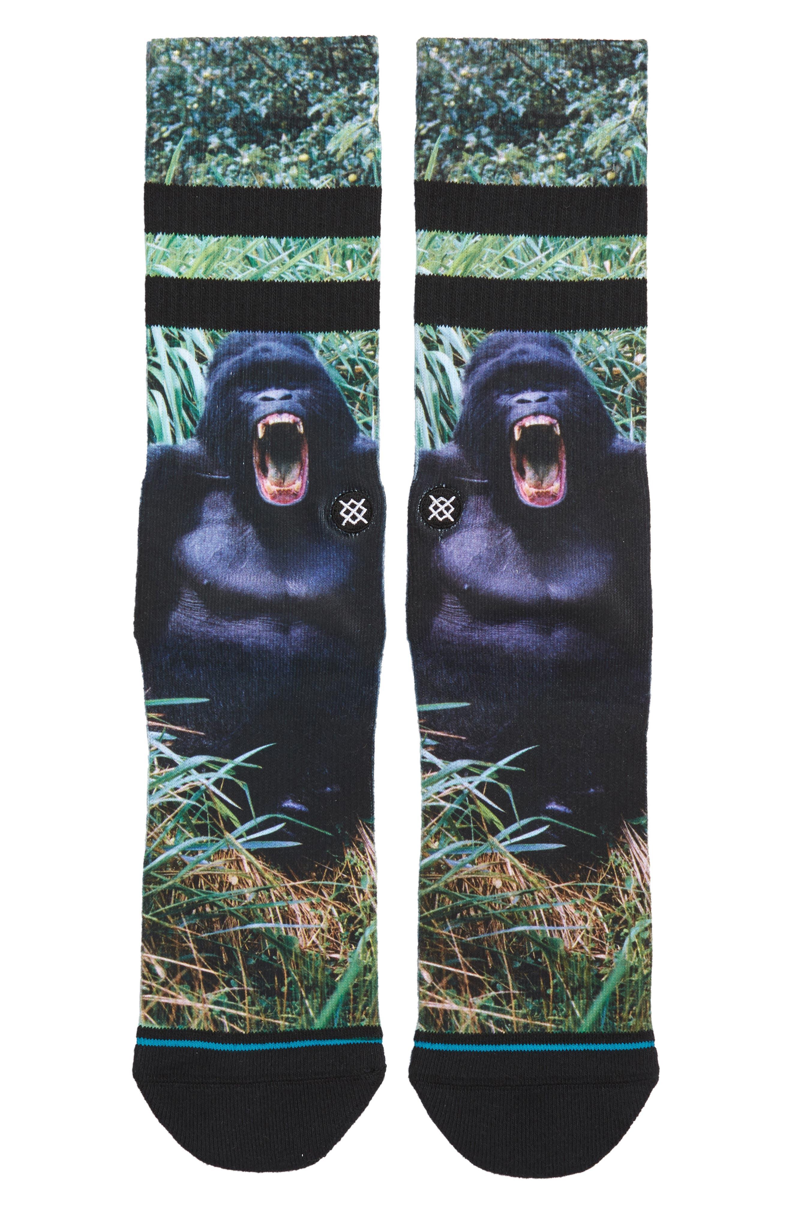 Gorilla Socks,                             Main thumbnail 1, color,                             BLACK