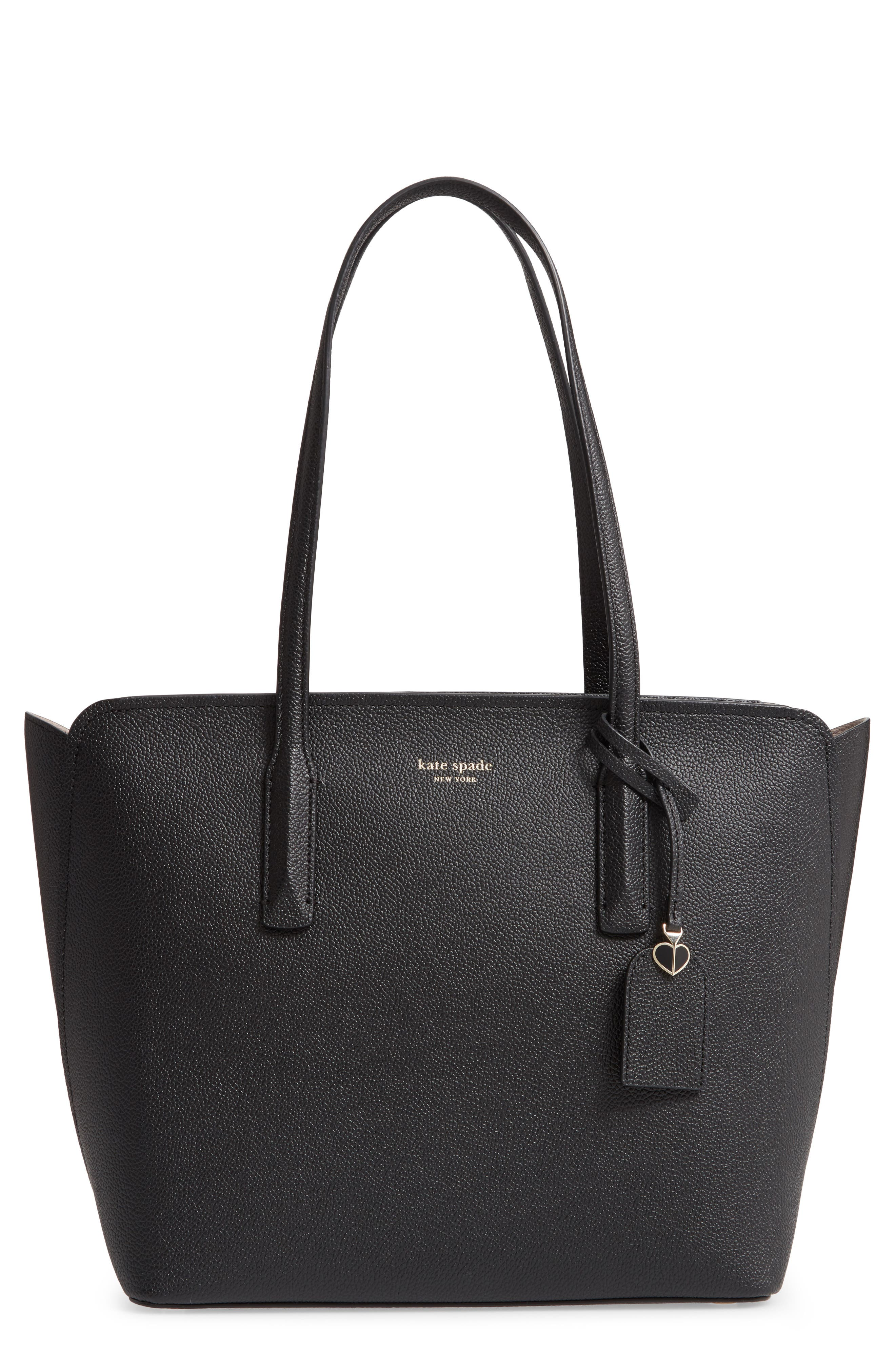 medium margaux leather tote, Main, color, BLACK