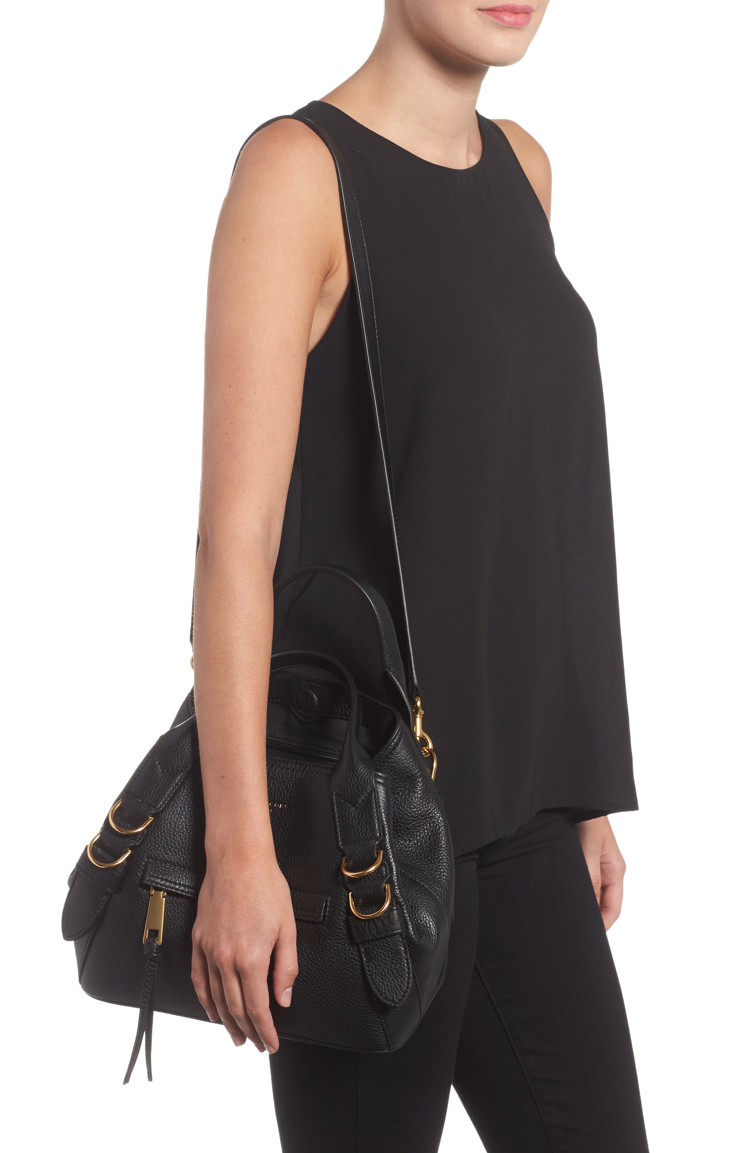 MARC JACOBS,                             The Small Anchor Leather Shoulder Bag,                             Alternate thumbnail 2, color,                             001