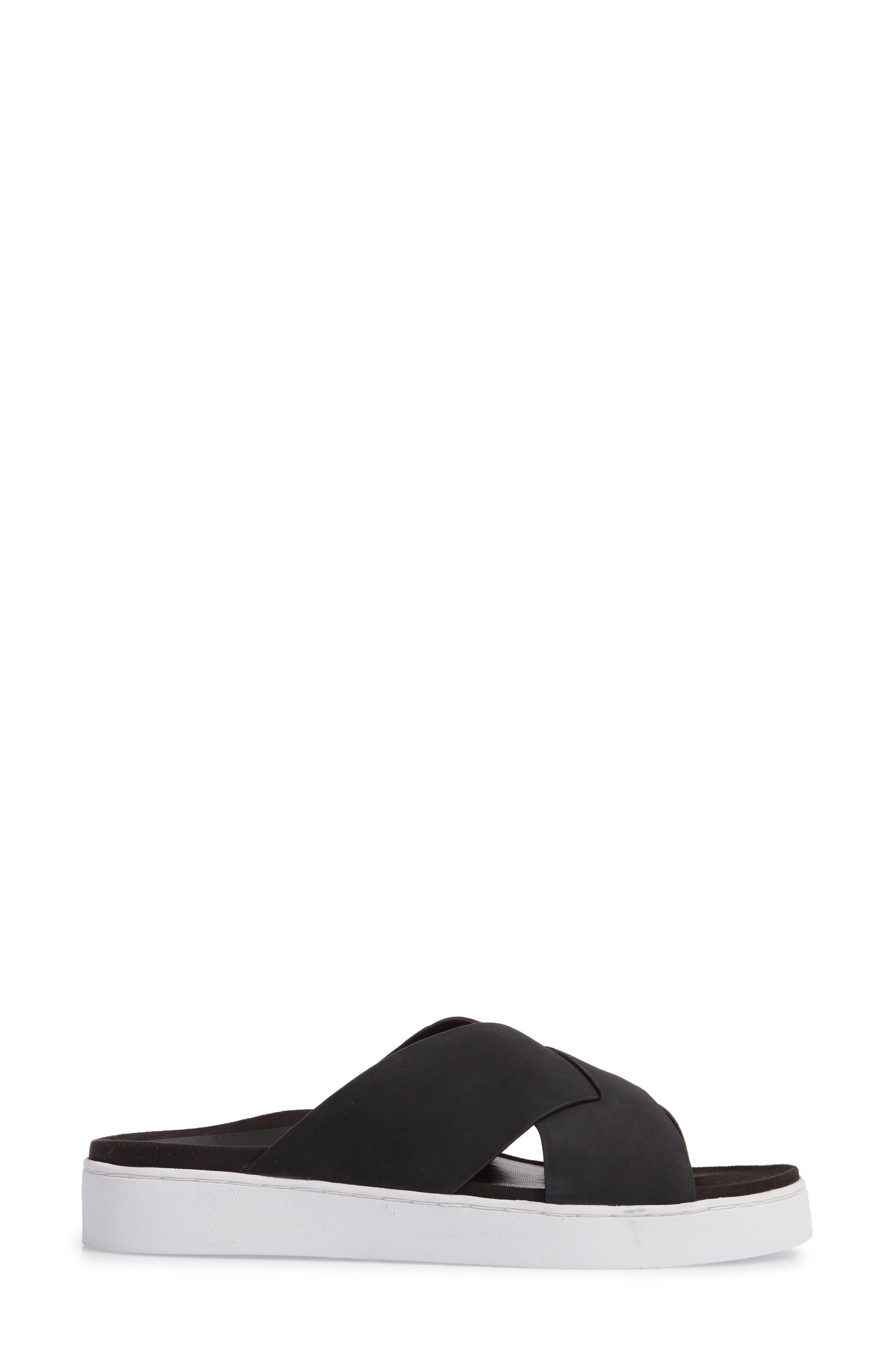 Lou Slide Sandal,                             Alternate thumbnail 3, color,                             BLACK NUBUCK