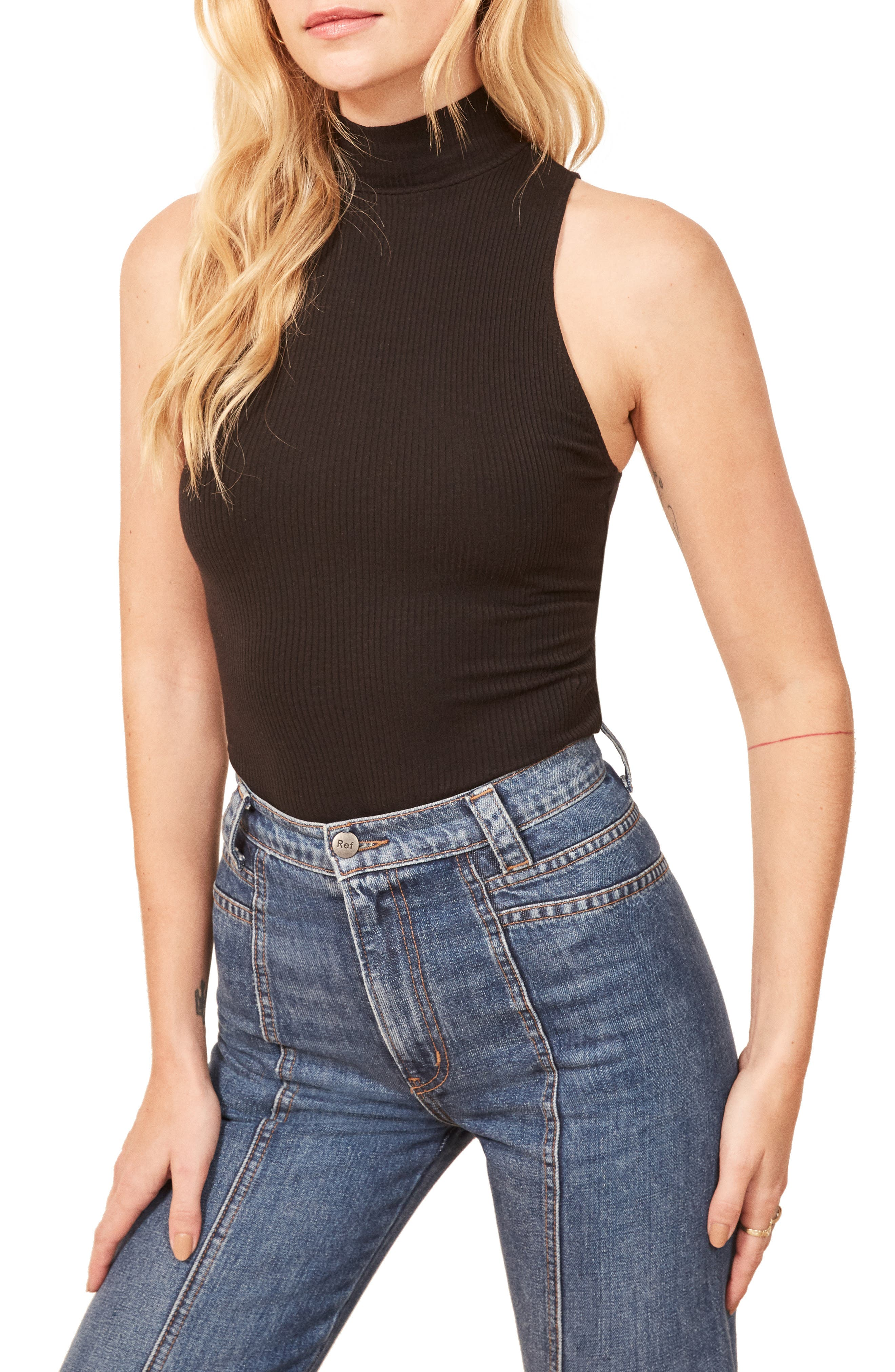 REFORMATION Nelly Sleeveless Mock Neck Top, Main, color, 001