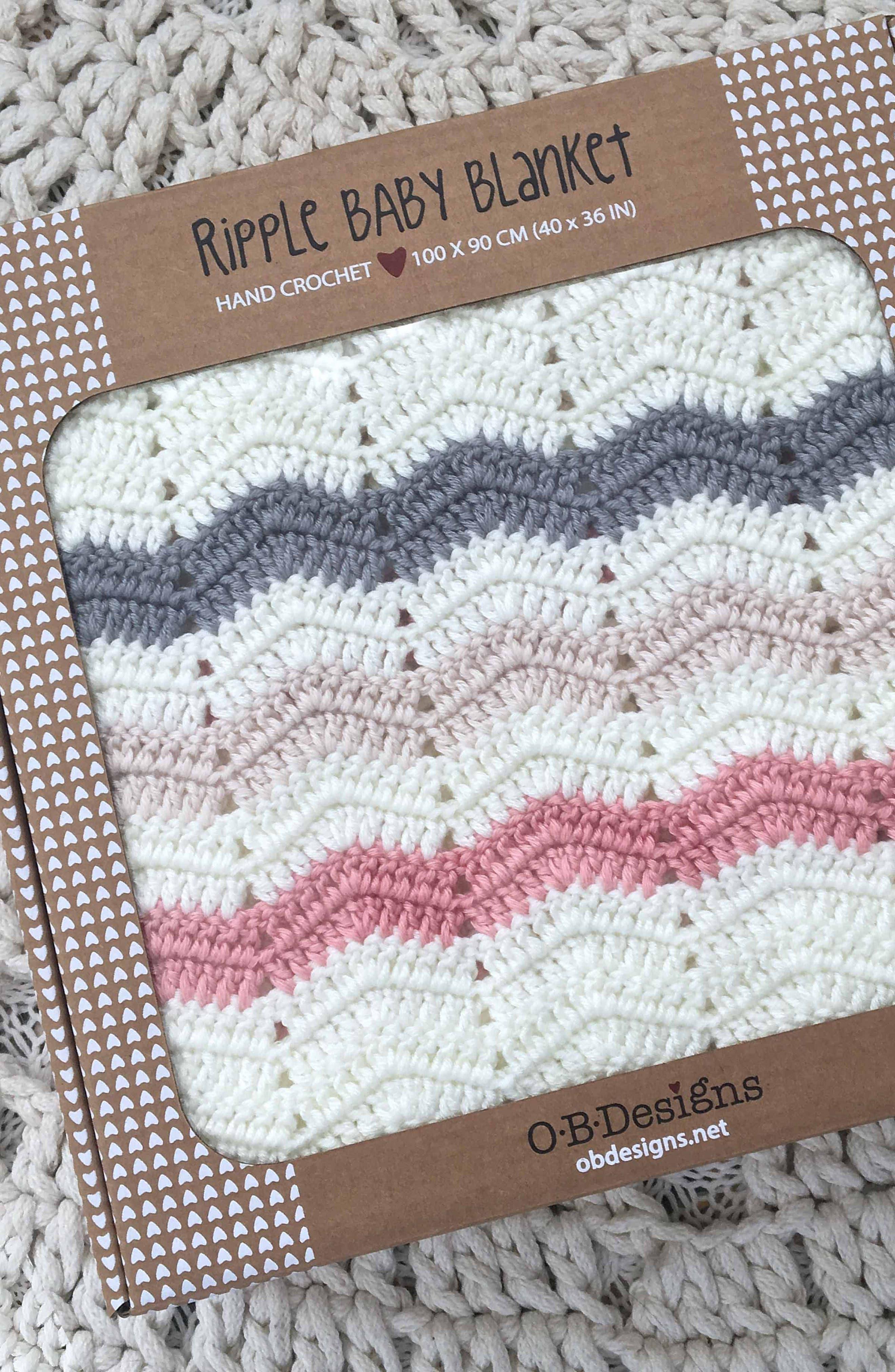 Ripple Crocheted Blanket,                             Alternate thumbnail 4, color,                             PINK