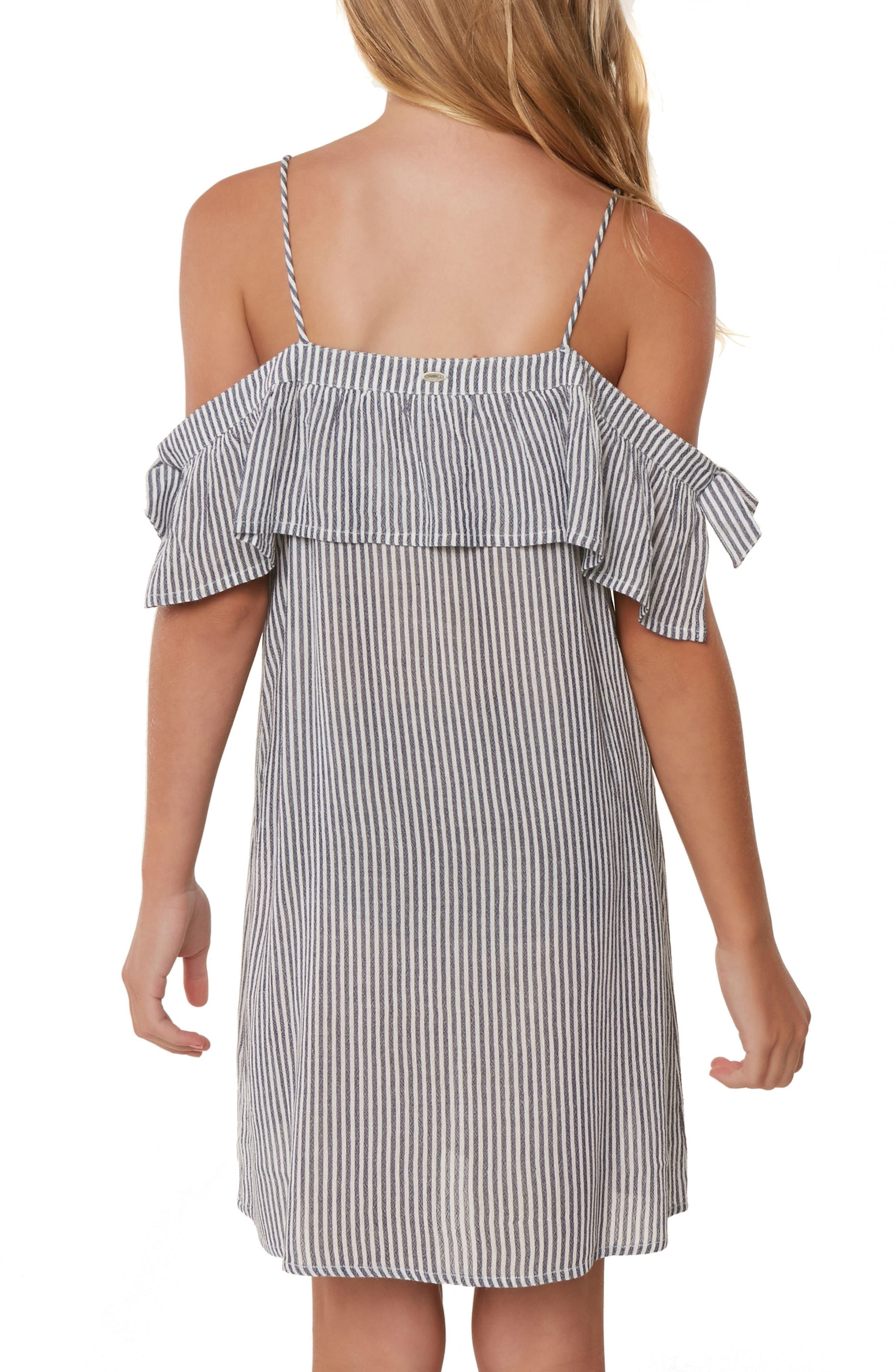 Myla Stripe Cold Shoulder Cover-Up Dress,                             Alternate thumbnail 4, color,                             WASHED INDIGO