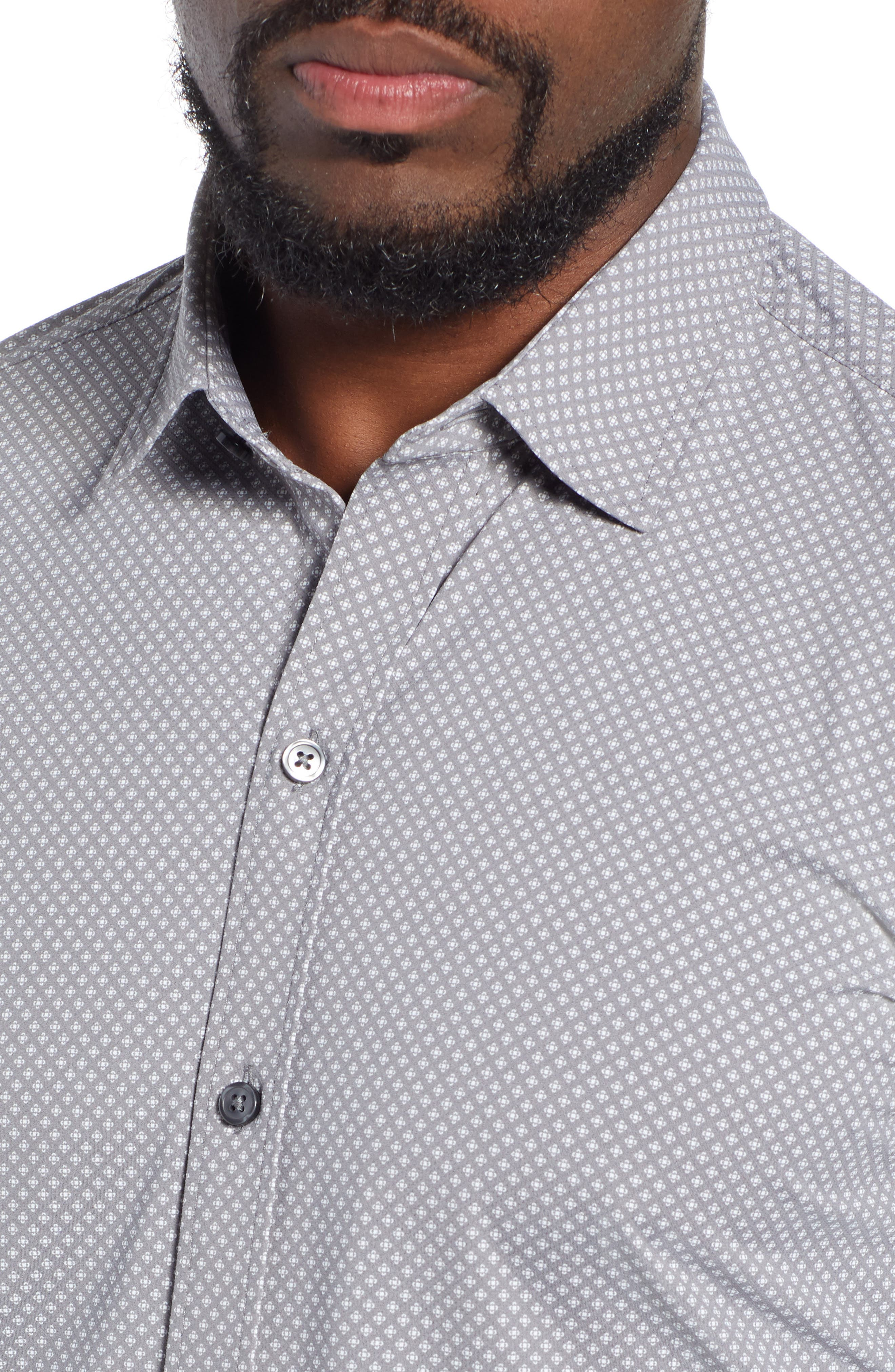 Robbie Extra Trim Fit Microprint Sport Shirt,                             Alternate thumbnail 2, color,                             GREY