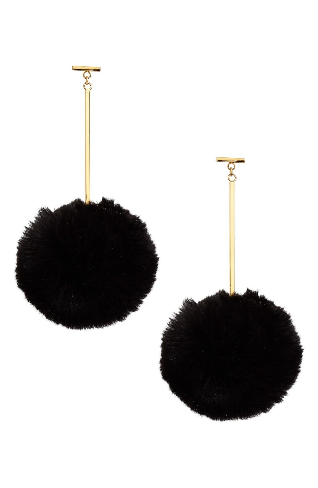 TULESTE,                             'Pom Pom' Genuine Rabbit Fur Drop Earrings,                             Main thumbnail 1, color,                             001