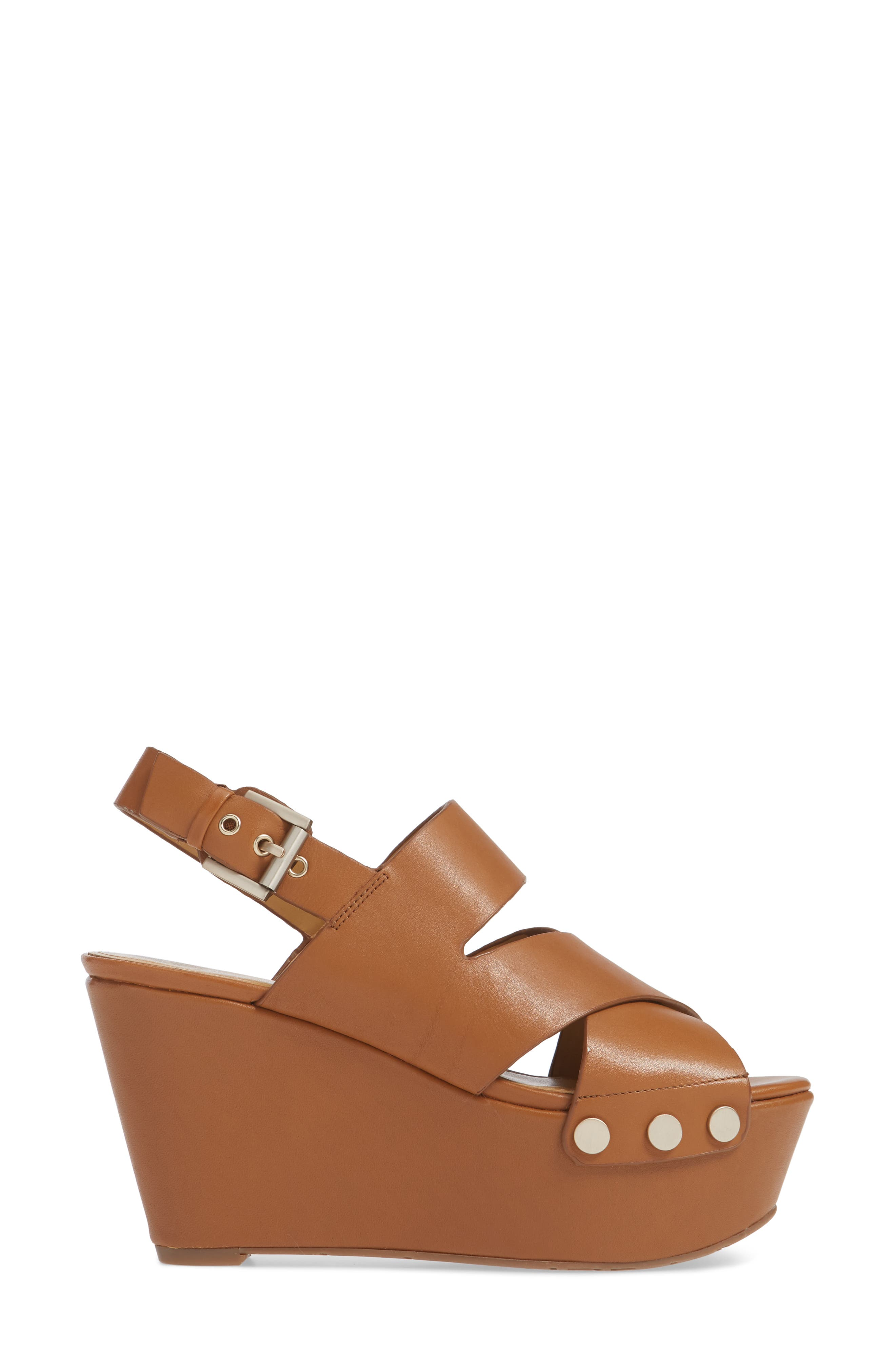 Bianka Platform Wedge Sandal,                             Alternate thumbnail 3, color,                             GINGER SNAP LEATHER