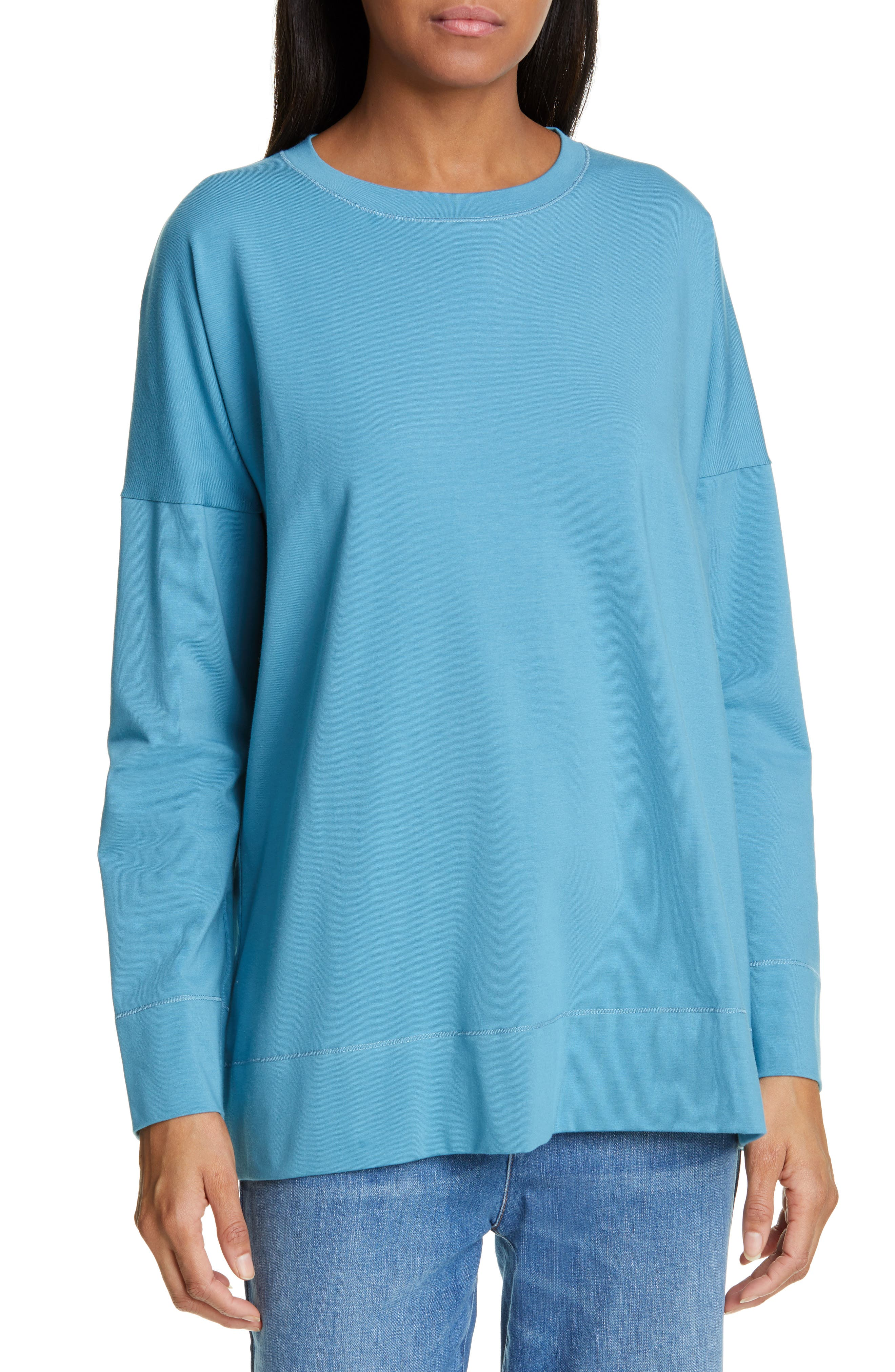 Eileen Fisher Tops STRETCH COTTON CREWNECK TOP
