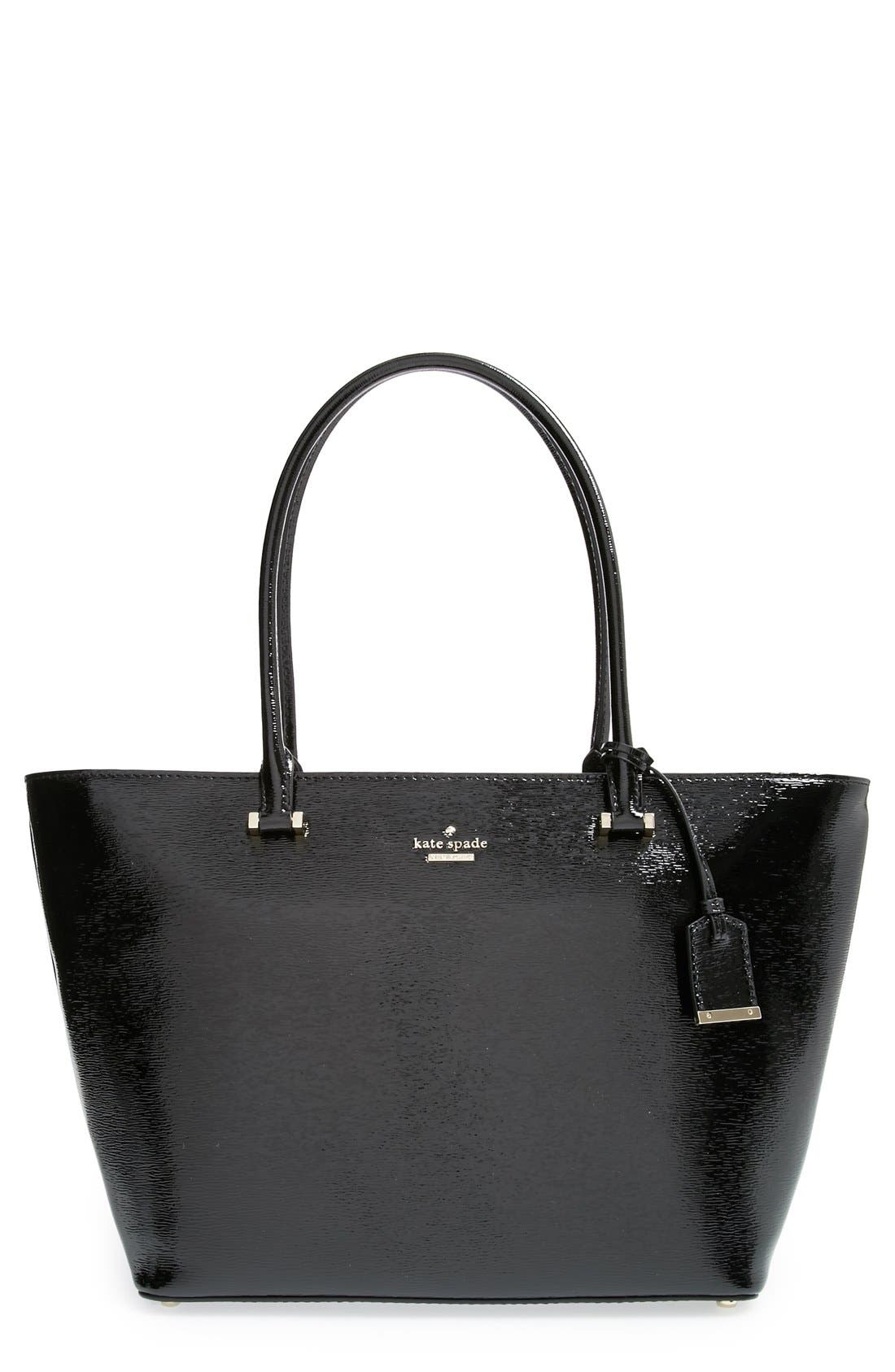 'cedar street patent - small harmony' patent leather tote, Main, color, 001