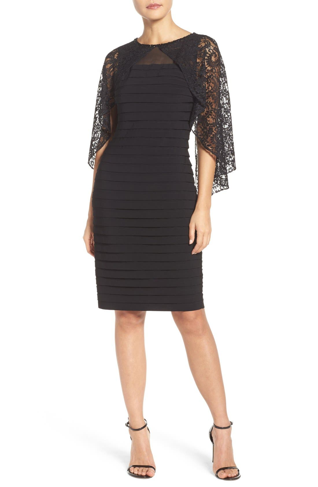 ADRIANNA PAPELL,                             Cape Dress,                             Alternate thumbnail 8, color,                             002