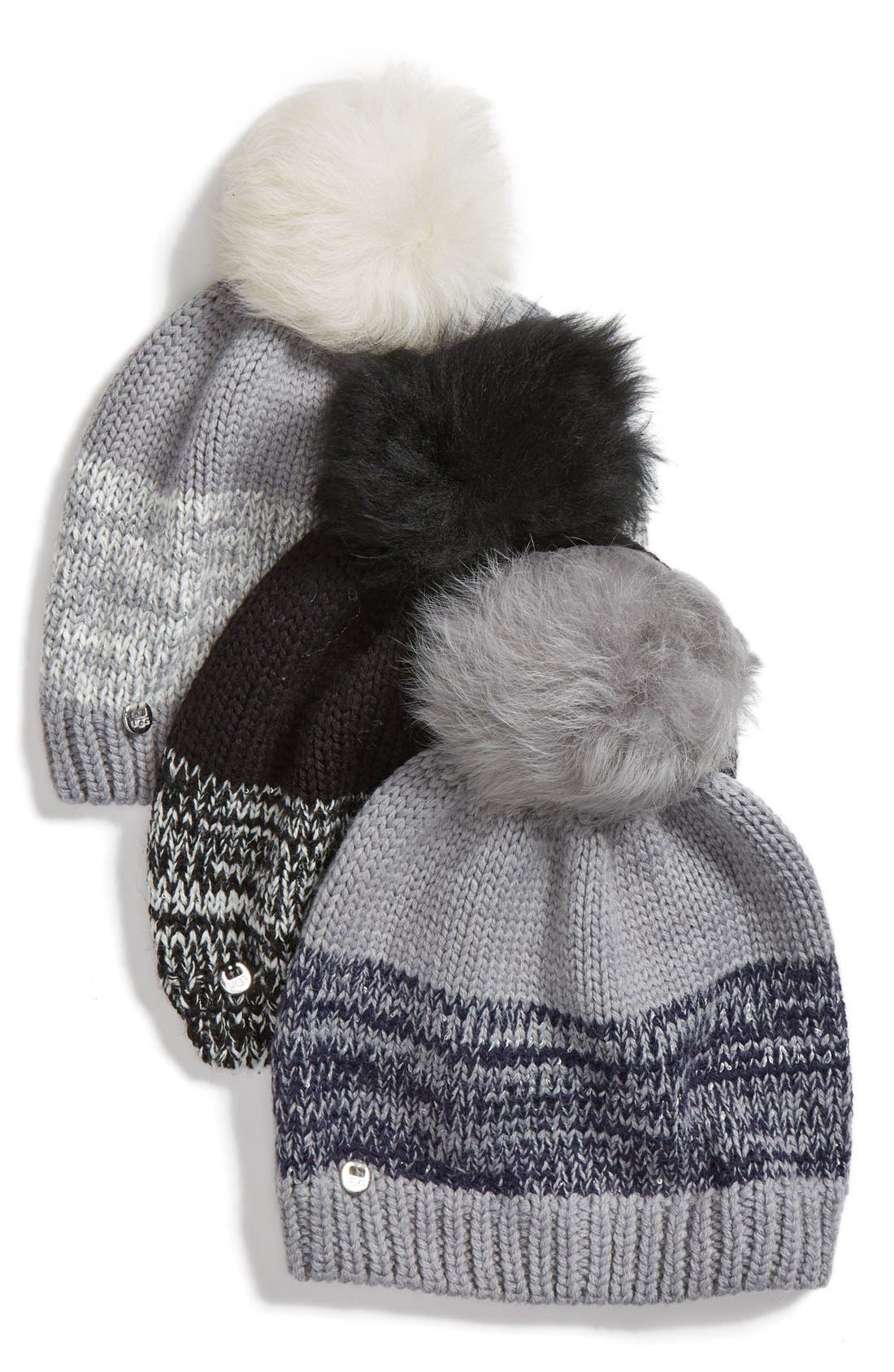 Australia Genuine Shearling Pom Marled Knit Beanie,                             Alternate thumbnail 2, color,                             001