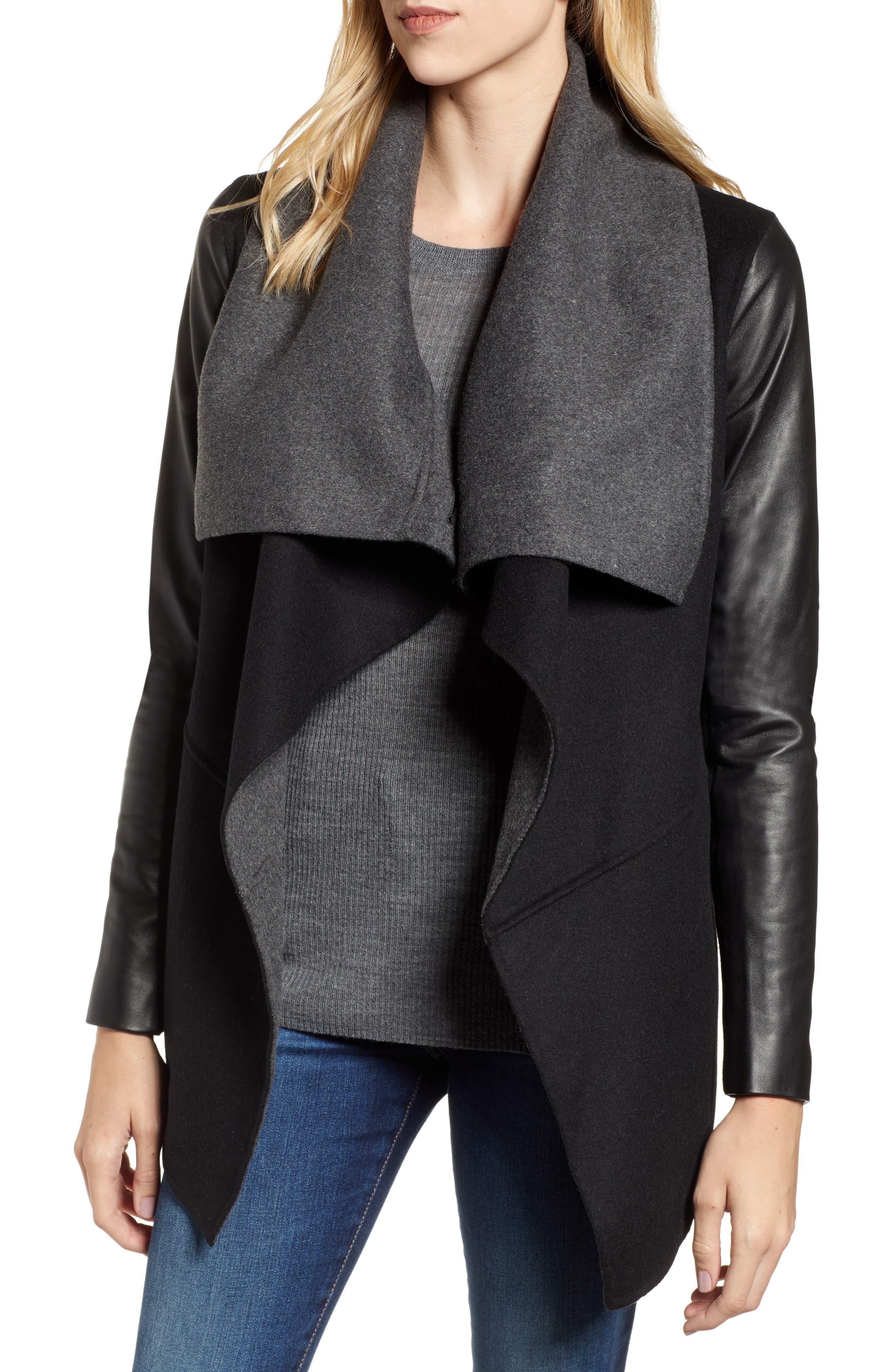Vane Asymmetrical Leather Sleeve Coat,                         Main,                         color, BLACK/ CHARCOAL