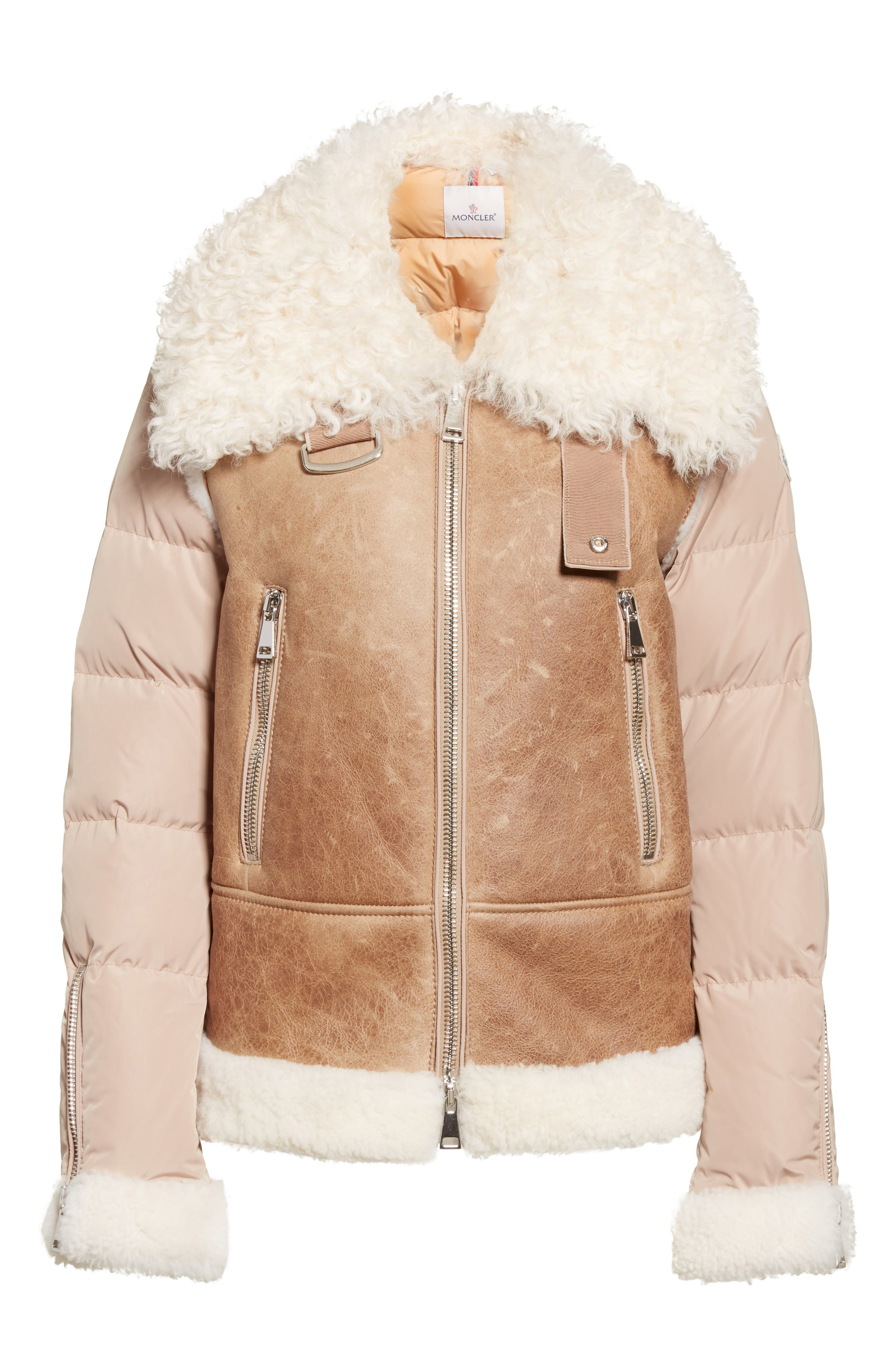 Kilia Genuine Shearling & Down Puffer Jacket,                             Alternate thumbnail 2, color,                             CAMEL