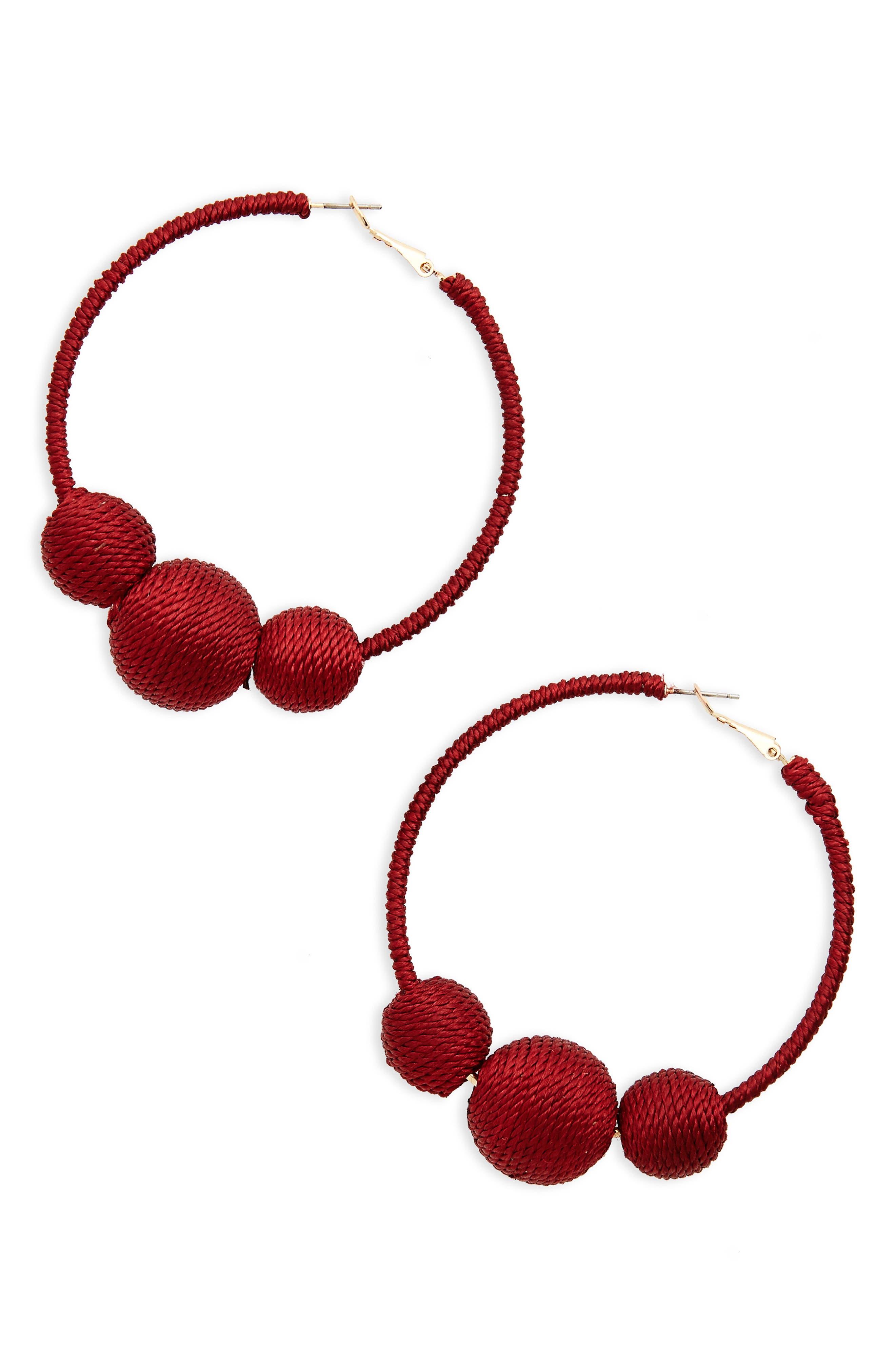 Wrapped Ball Hoop Earrings,                             Main thumbnail 4, color,