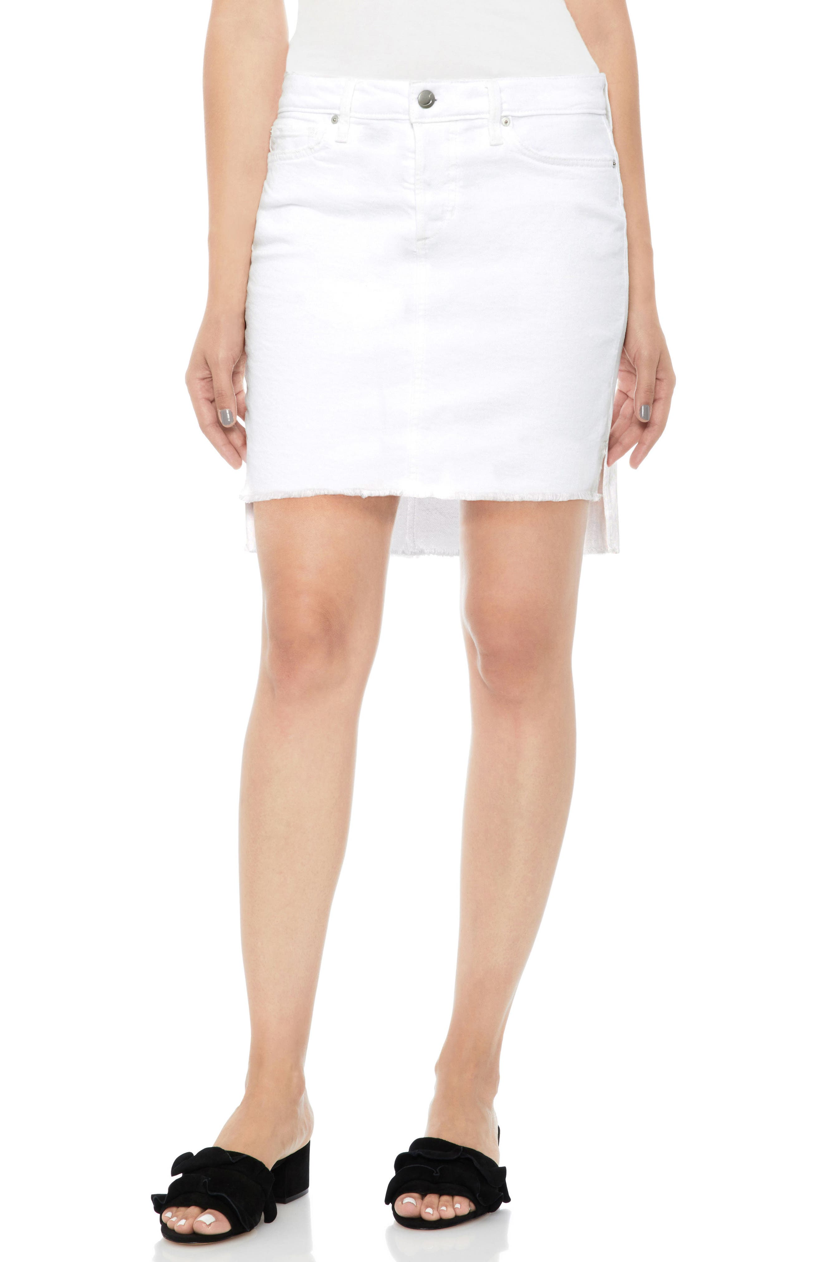Denim Pencil Skirt,                             Main thumbnail 1, color,                             100
