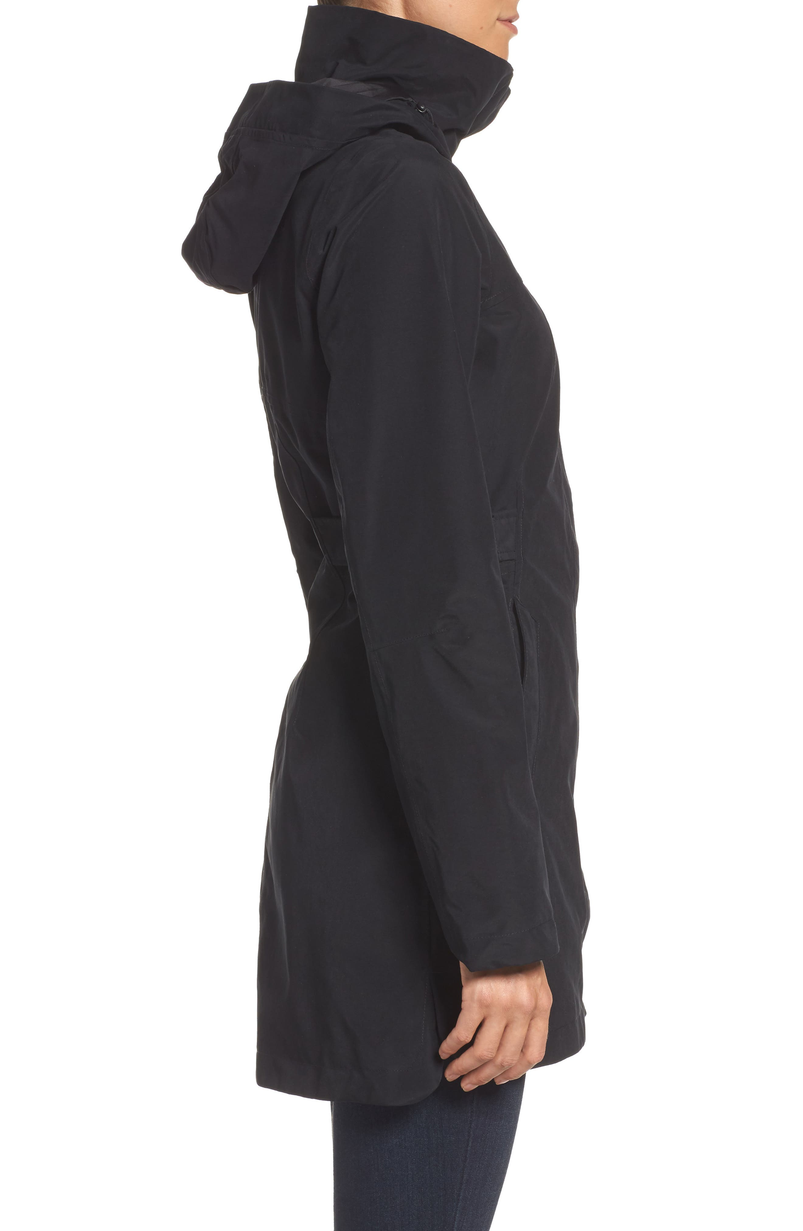 Laney II Trench Raincoat,                             Alternate thumbnail 3, color,                             TNF BLACK