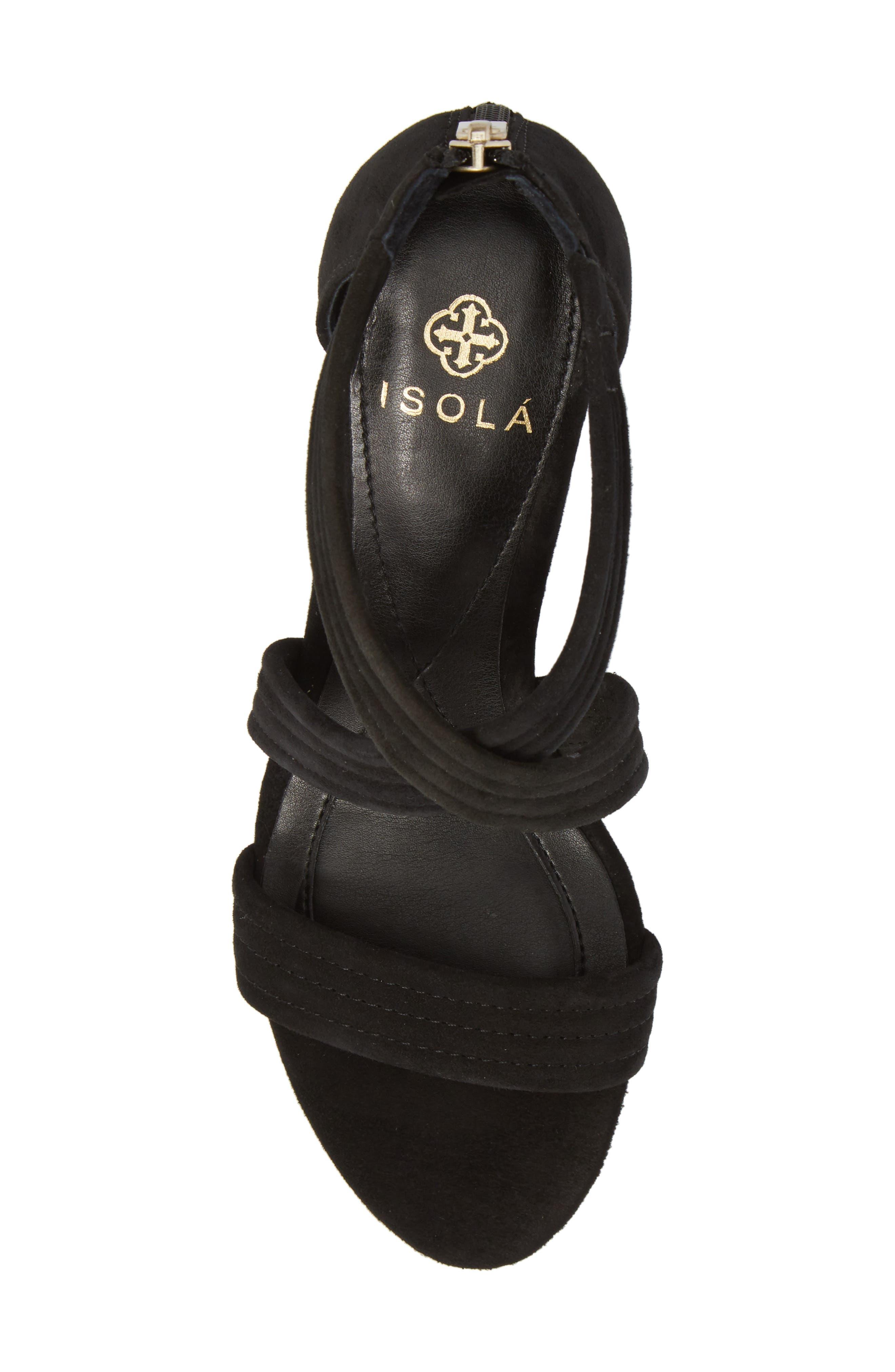 Fia Wedge Sandal,                             Alternate thumbnail 5, color,                             BLACK SUEDE
