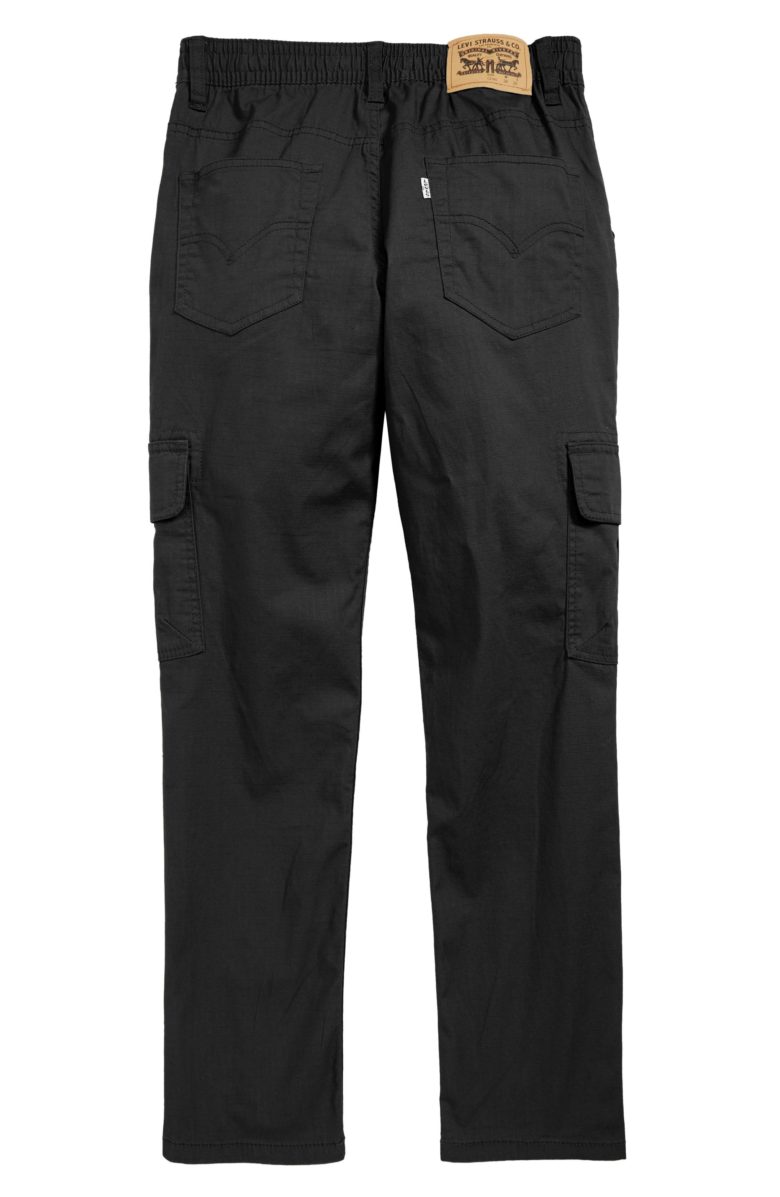 Stretch Cargo Tapered Pants,                             Alternate thumbnail 2, color,                             ONYX
