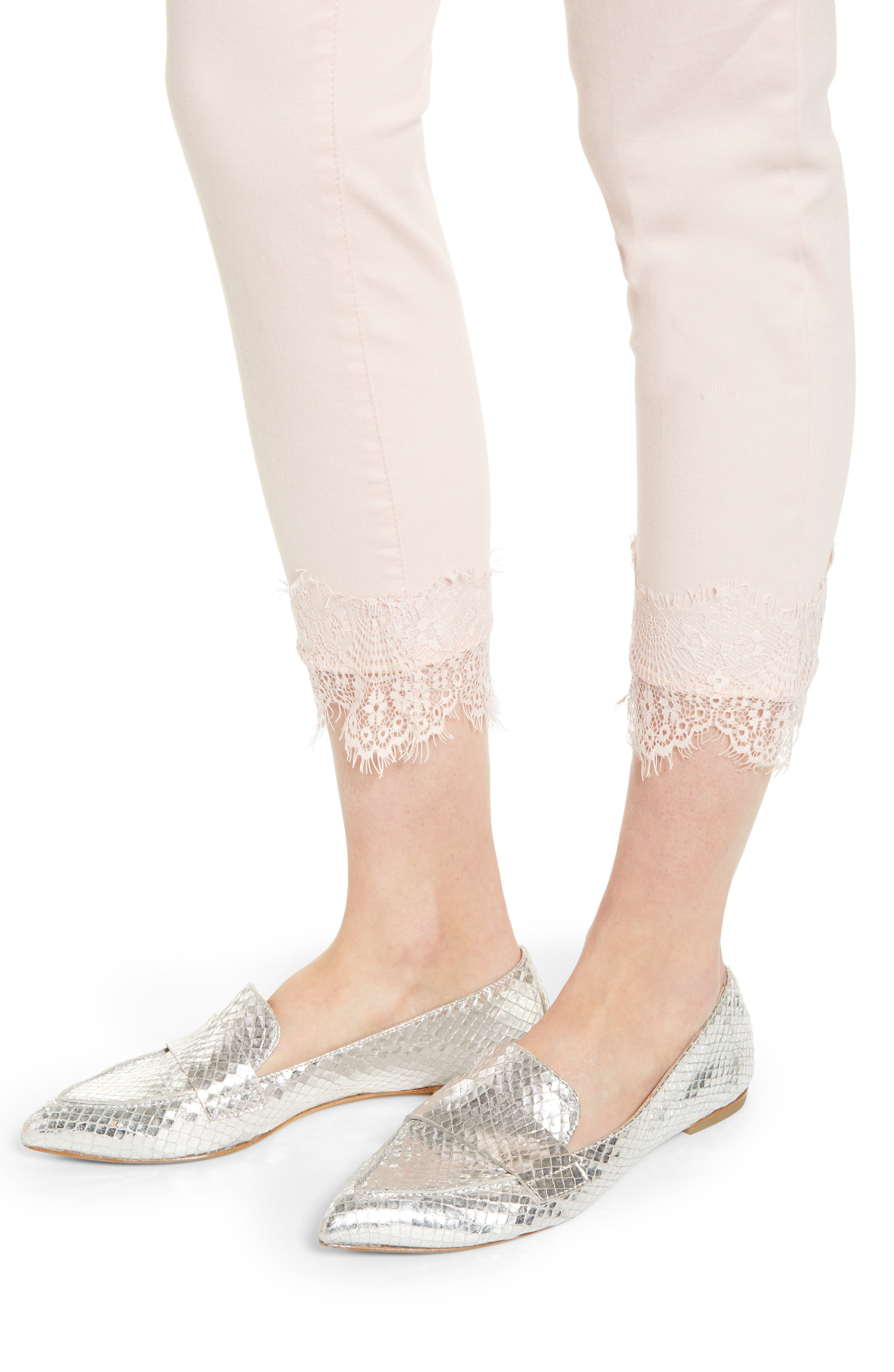WIT & WISDOM,                             Ab-Solution Lace Hem Ankle Skinny Pants,                             Alternate thumbnail 5, color,                             WISPER PINK