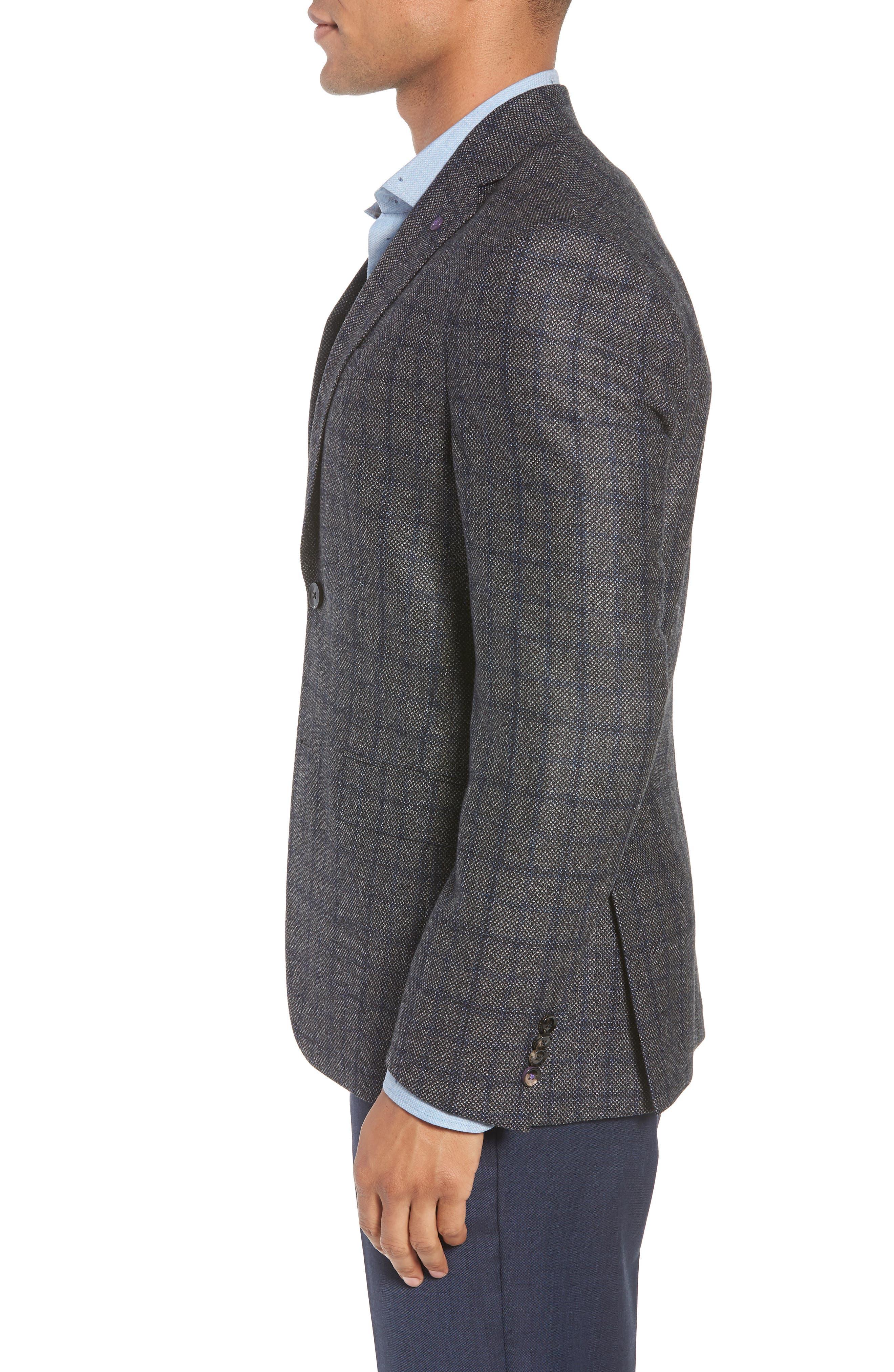 Konan Trim Fit Windowpane Wool Sport Coat,                             Alternate thumbnail 3, color,                             GREY
