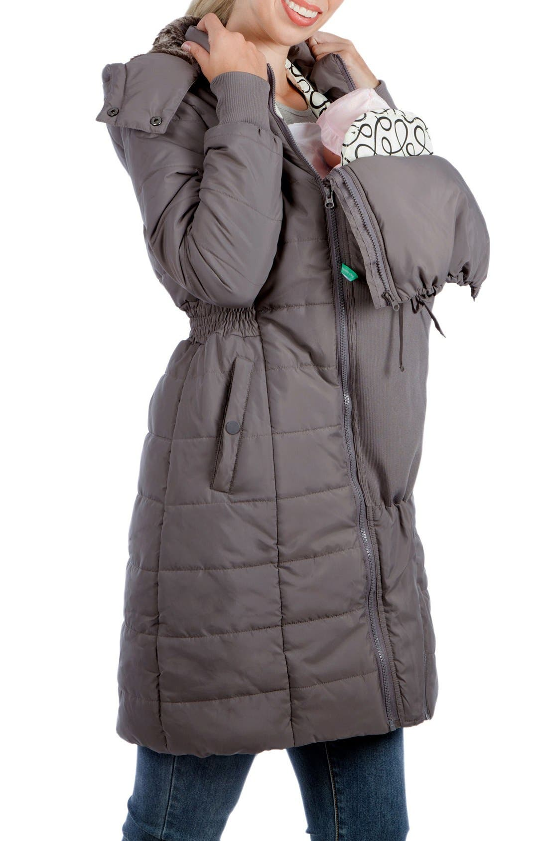 Madison Quilted 3-in-1 Maternity Puffer Coat with Faux Fur Trim,                             Alternate thumbnail 9, color,                             GREY