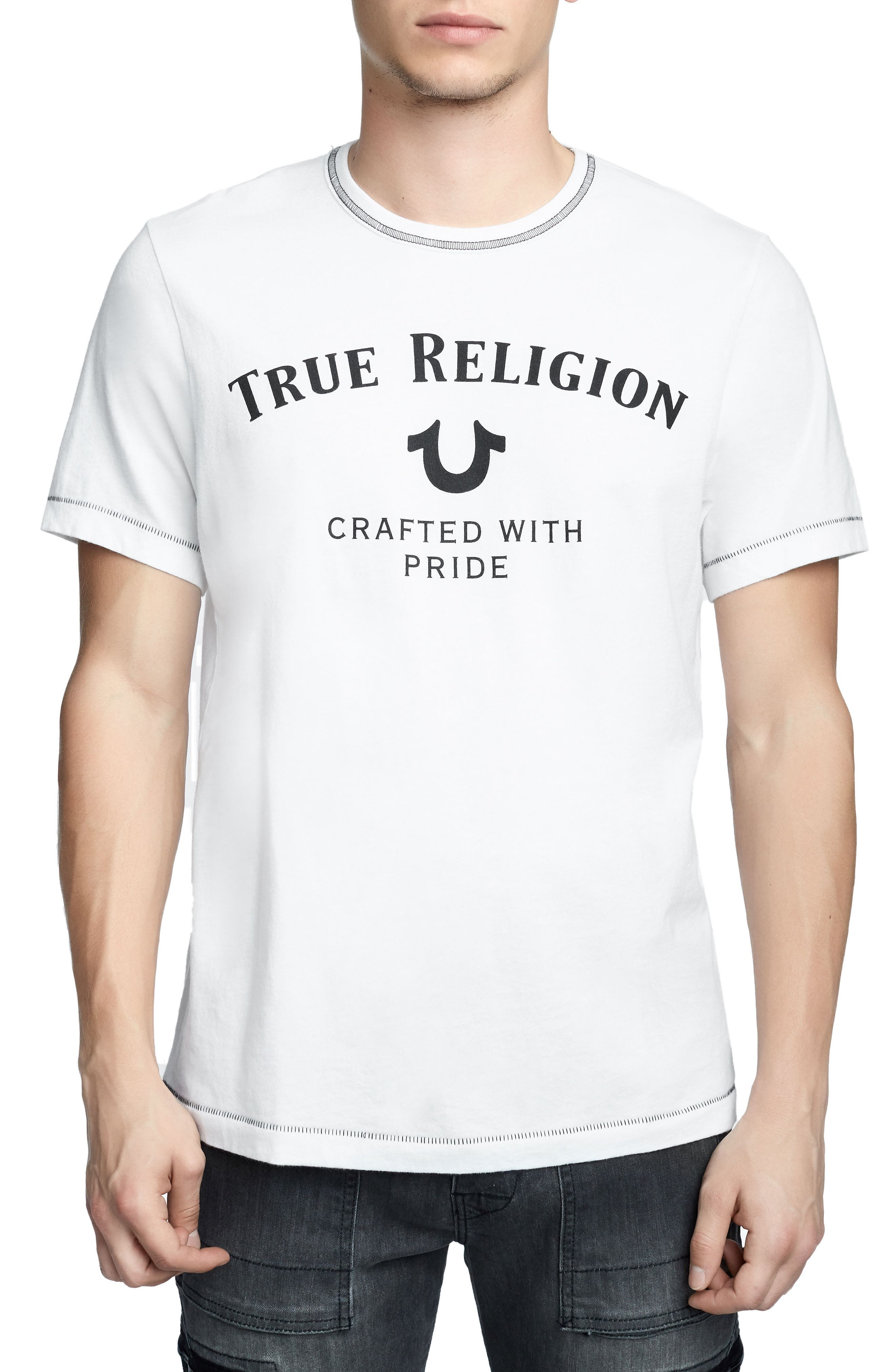 TRUE RELIGION BRAND JEANS,                             Heritage Logo T-Shirt,                             Main thumbnail 1, color,                             100