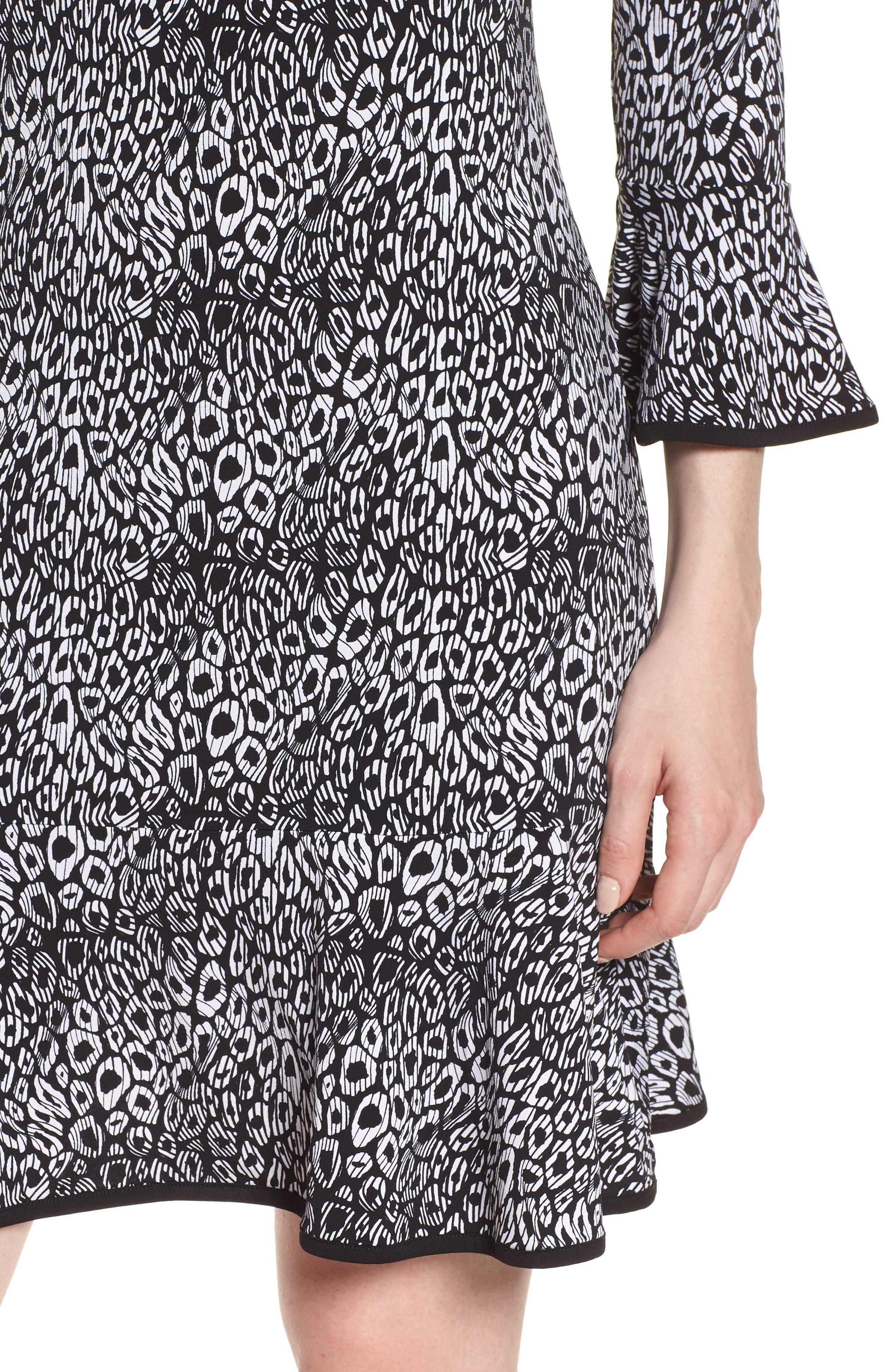 Wavy Leopard Flounce Dress,                             Alternate thumbnail 4, color,                             001