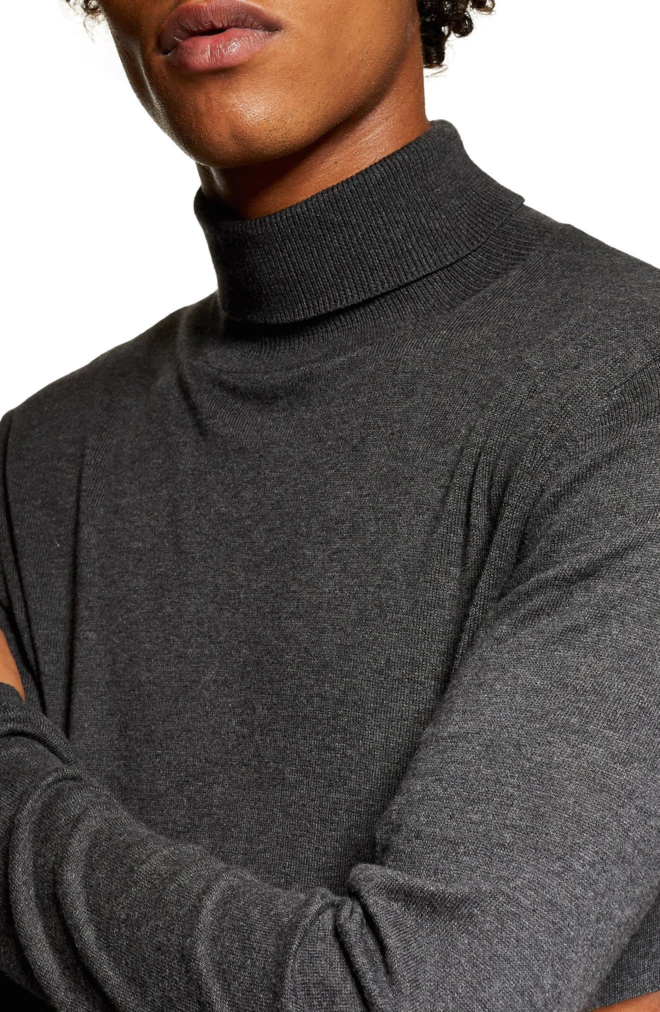 Classic Fit Turtleneck Sweater,                             Alternate thumbnail 3, color,                             DARK GREY
