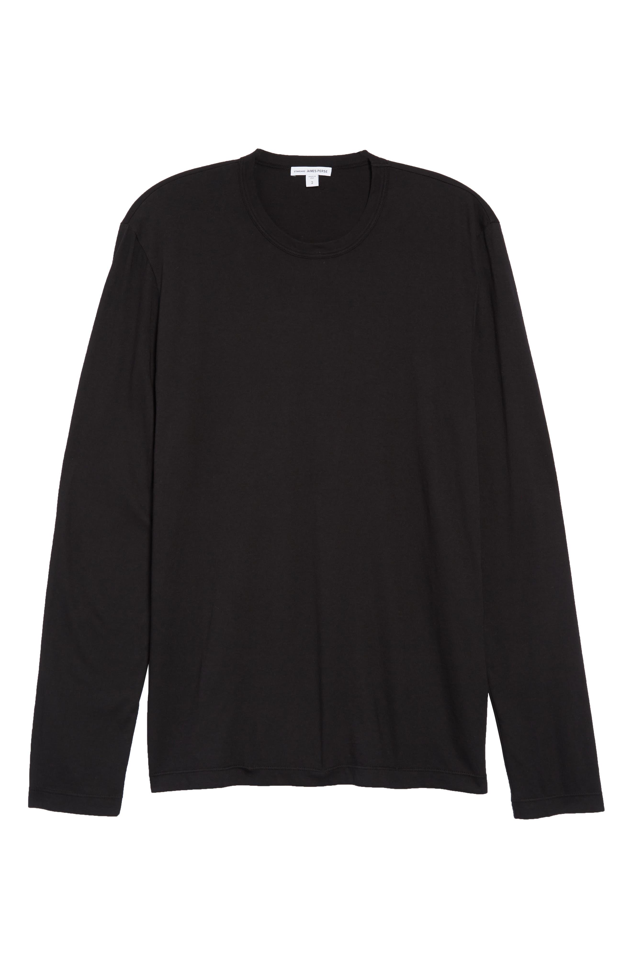 Long Sleeve Crewneck T-Shirt,                         Main,                         color, 001