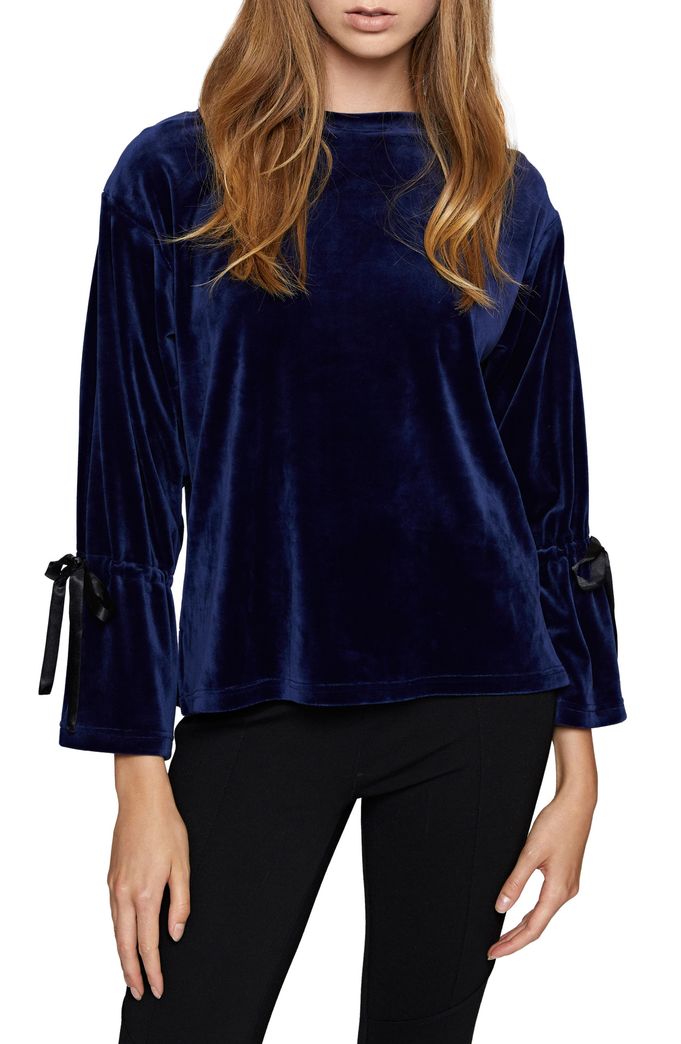 Tierney Tie Sleeve Velour Top,                             Main thumbnail 3, color,
